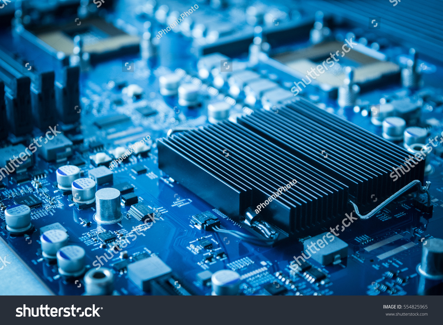Electronics Background Technology Close Blue Circuit Stock Photo And Up Board Apple Xserv Server Main For Repair