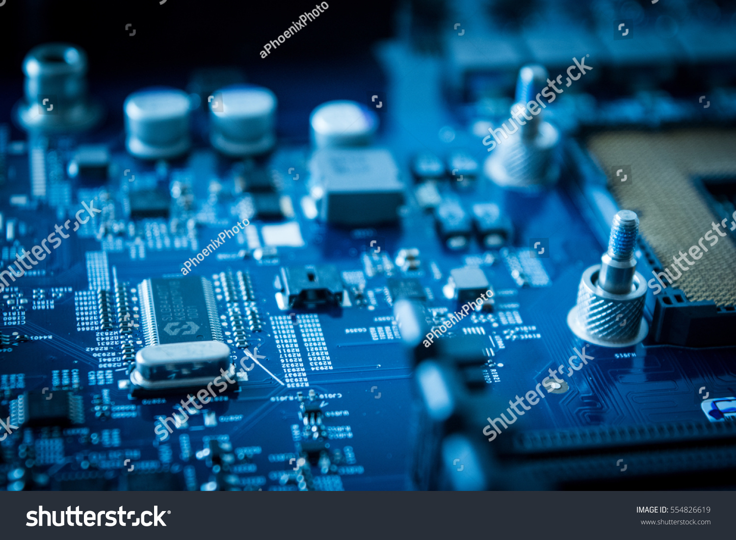 Technology Background Computer Processors Cpu Concept Stock Photo Circuit Board Assembly Buy Electronic Circuits Boardcircuit With Blue