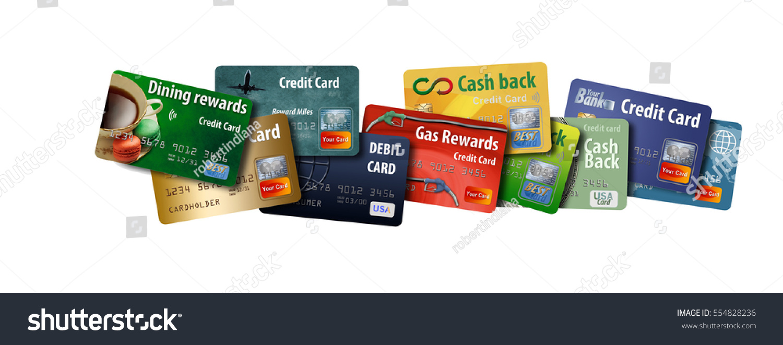 credit cards debit cards stacked together stock illustration