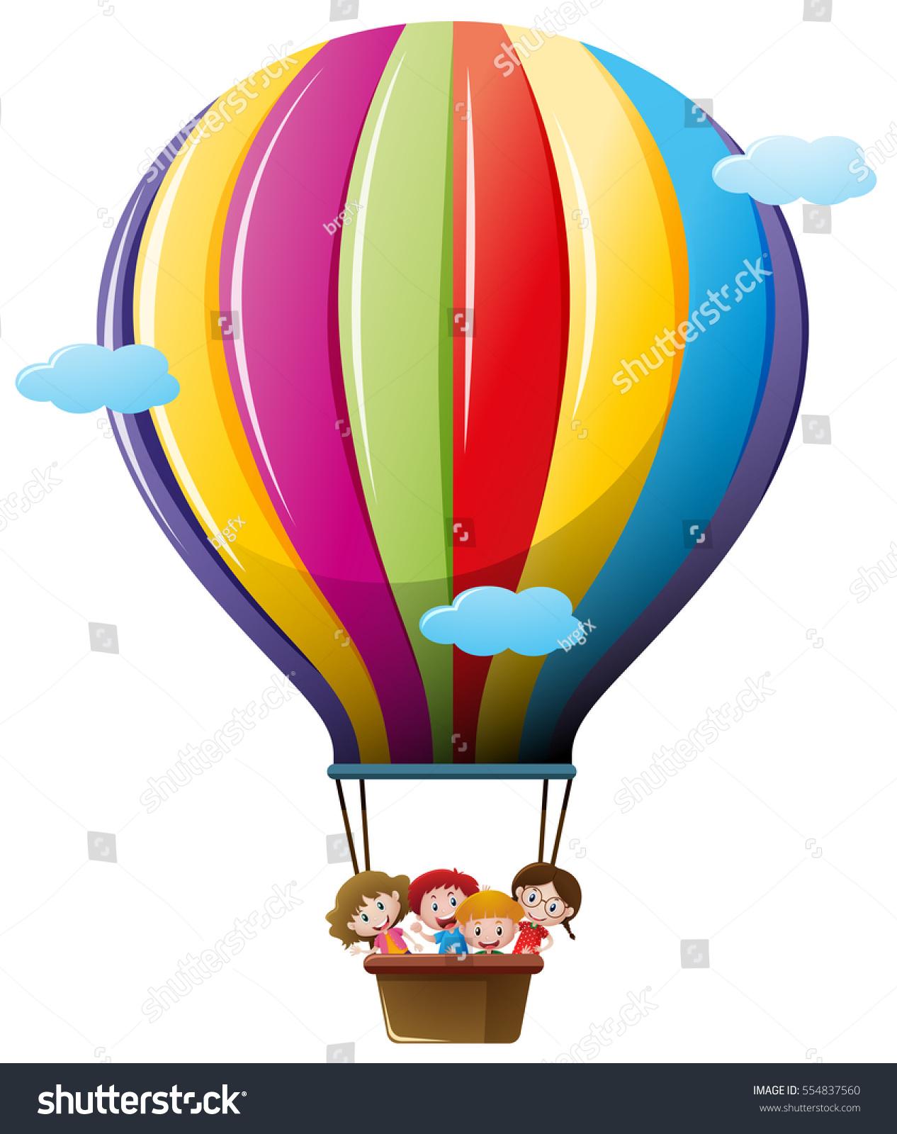 Kids Flying Hot Air Balloon Stock Vector 554837560 ...