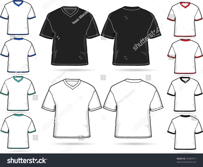 Design shirt v neck - V Neck T Shirt Design Vector Illustration Set