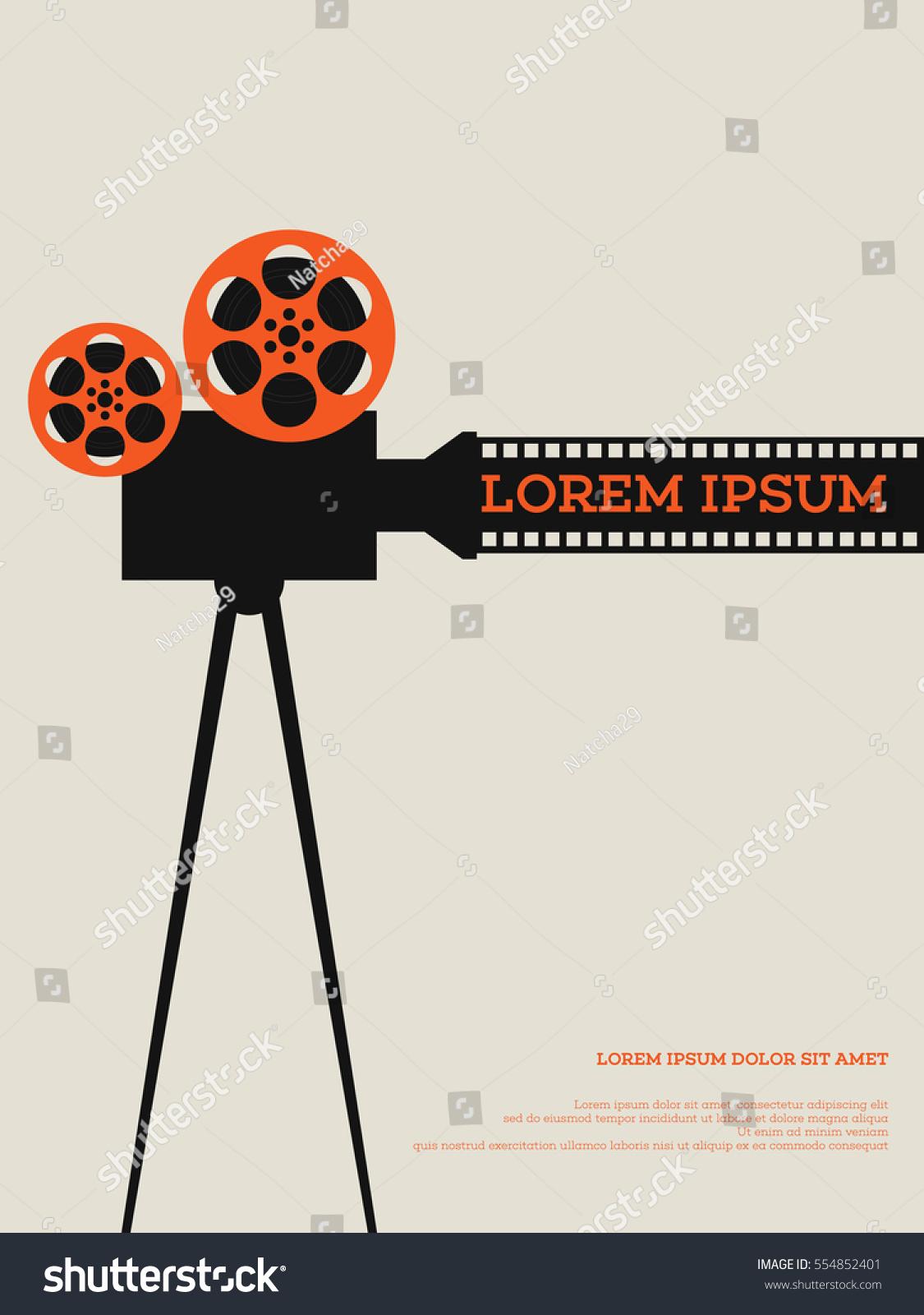 movie film reel filmstrip vintage poster stock vector