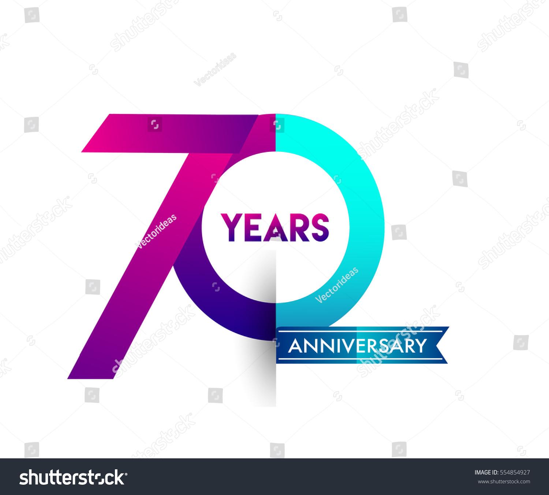 Seventy Years Anniversary Celebration Logotype Colorfull Stock