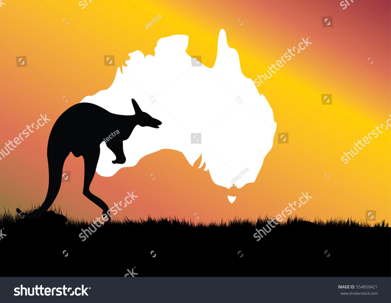 Map Australia Kangaroo Foreground Stock Vector - Australia map kangaroo