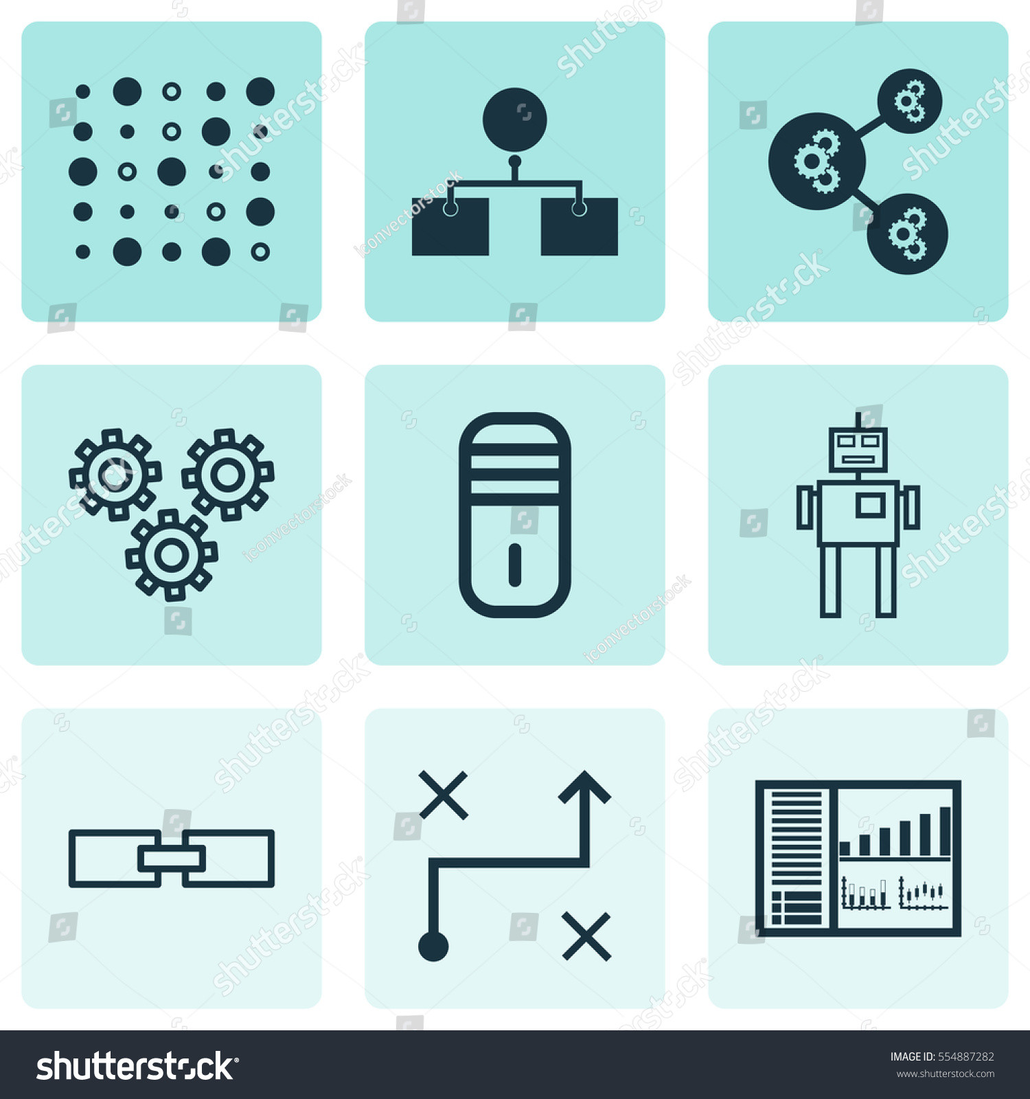 Set 9 Artificial Intelligence Icons Includes Stock Vector (Royalty ...