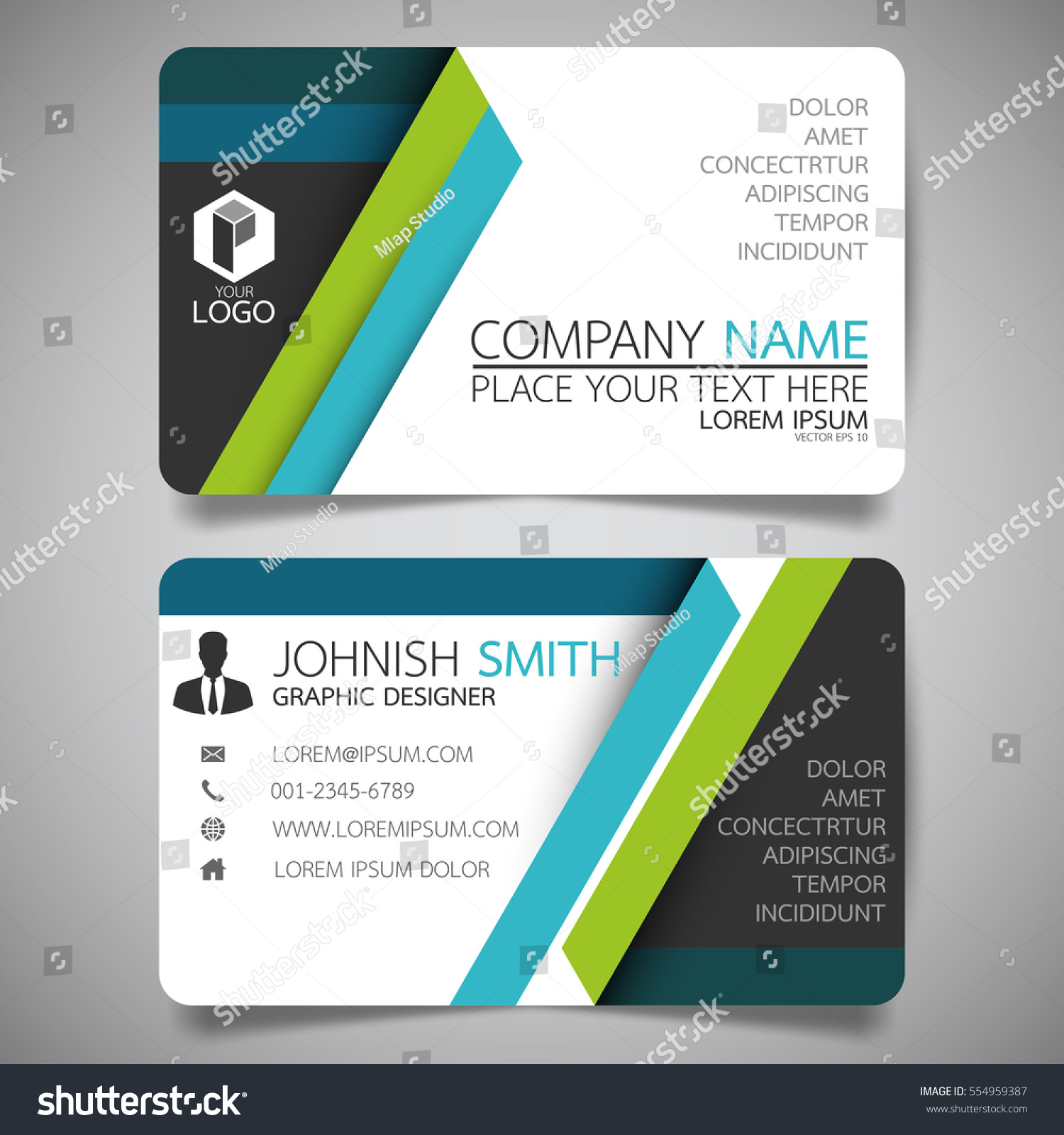 Blue green modern creative business card stock vector 554959387 blue and green modern creative business card and name cardhorizontal simple clean template vector magicingreecefo Gallery