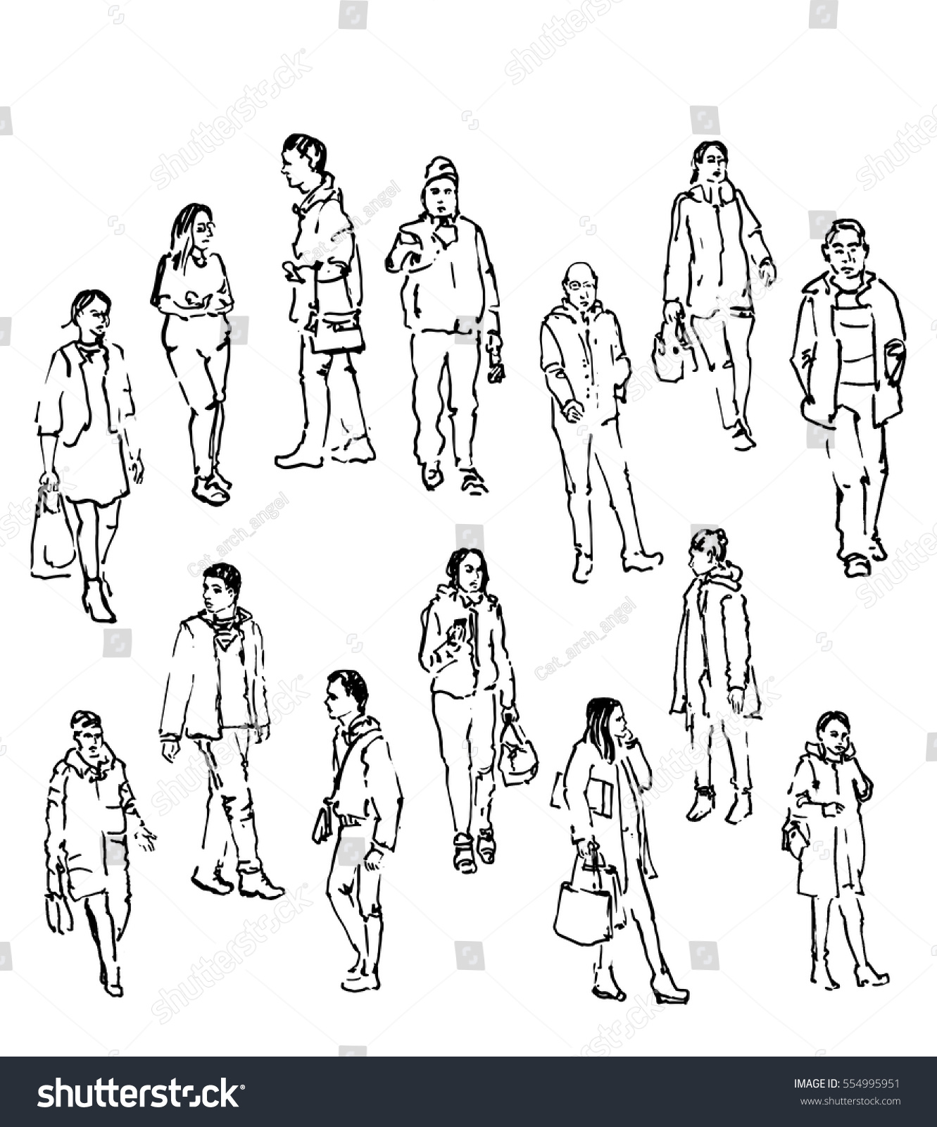 Line Drawing Figure : Vector sketch people line drawing figures stock