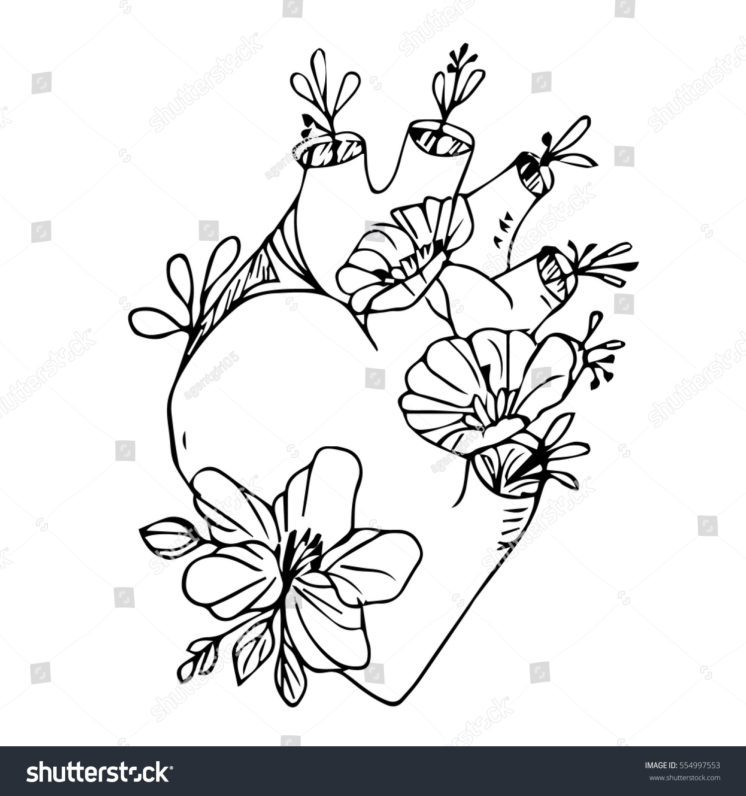 Heart Flowers On White Background Vector Stock Vector Royalty Free