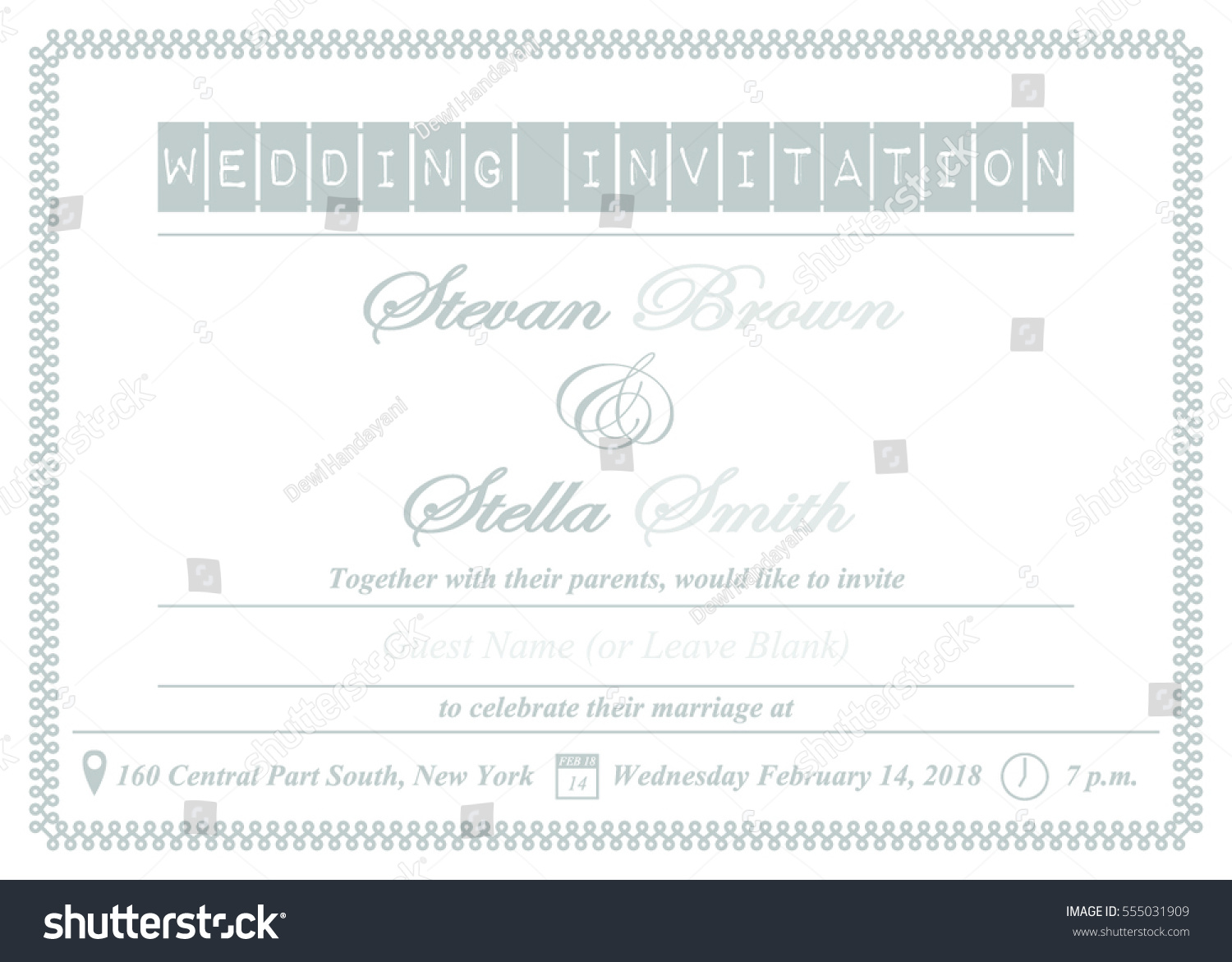 Elegant Wedding Invitation Template Recommended Silver Stock Vector ...