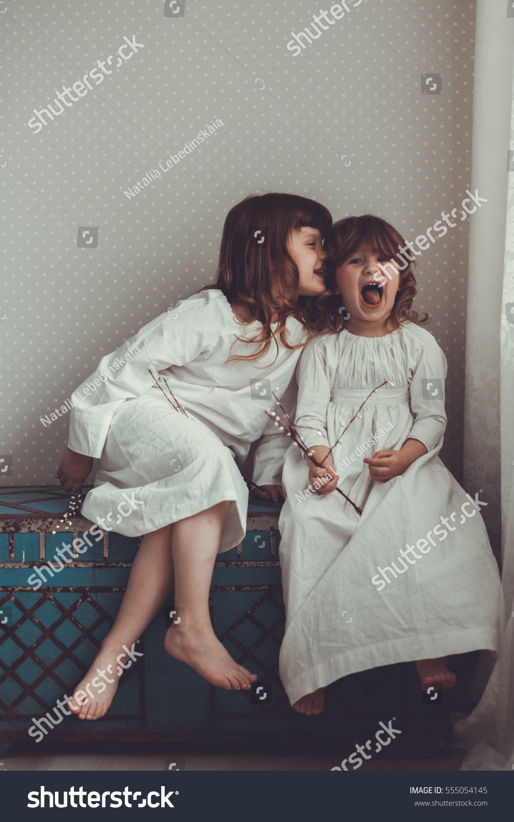 Gentle Sister Girls Nightgowns Retro Talking Stock Photo (Edit Now ... a468127ca