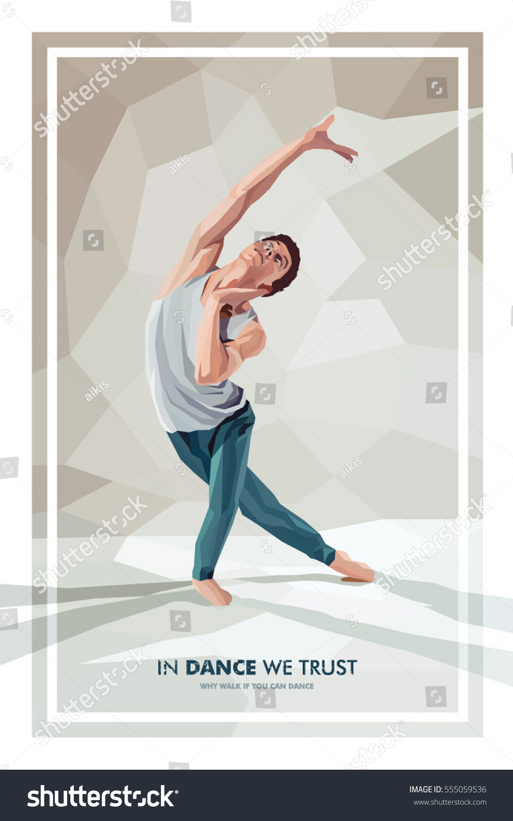 Barefoot Contemporary Dancer Dance Polygonal Poster With Lettering In We Trust