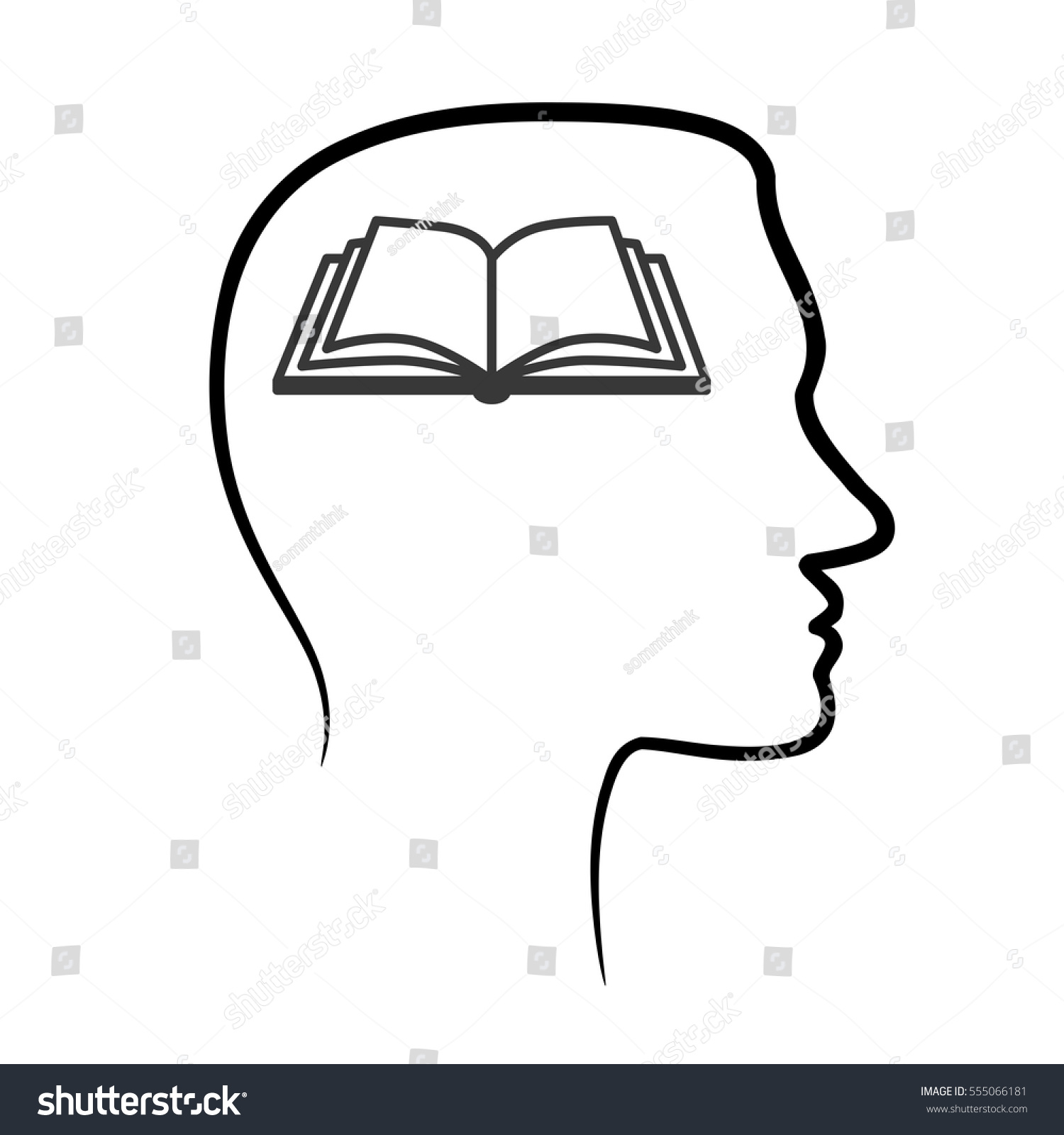 Human head and brain outline