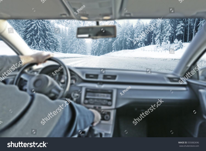 car interior driver winter road snow stock photo 555082696 shutterstock. Black Bedroom Furniture Sets. Home Design Ideas