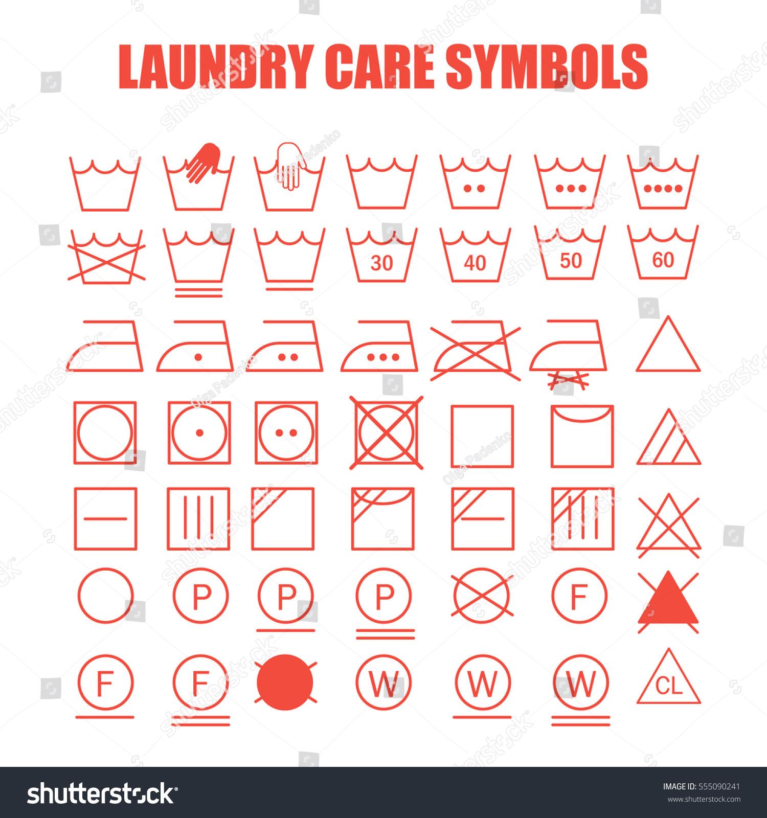Royalty Free Laundry Care Symbols Set Wash Bleach 555090241