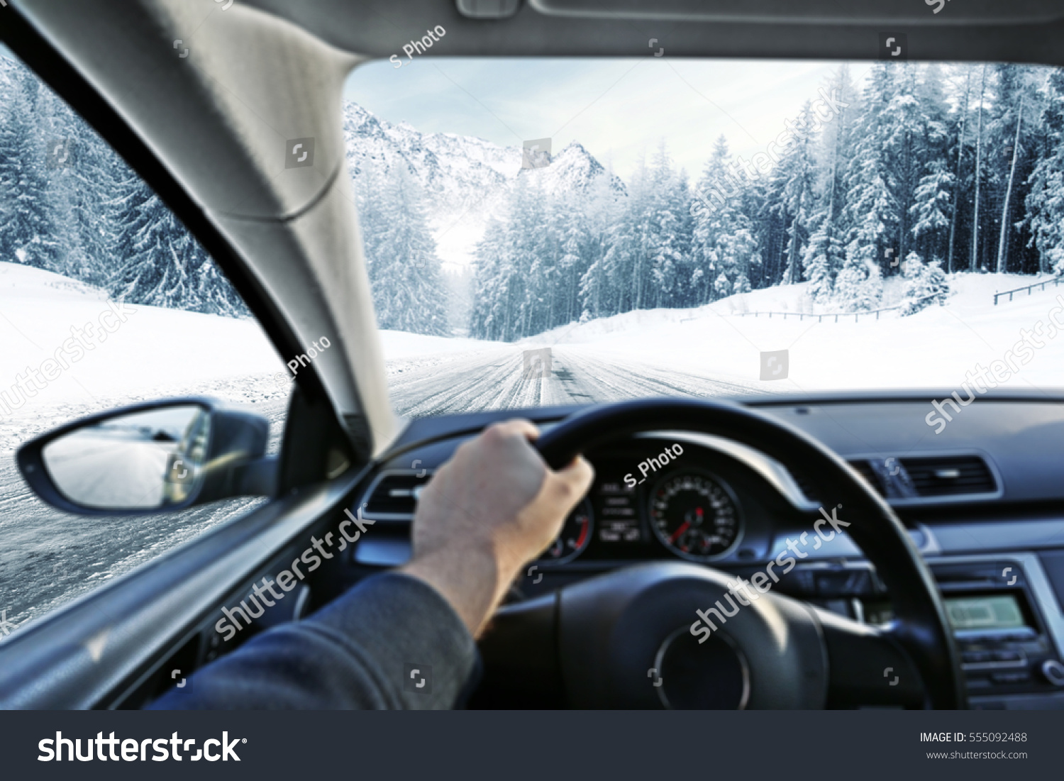 car interior winter road stock photo 555092488 shutterstock. Black Bedroom Furniture Sets. Home Design Ideas