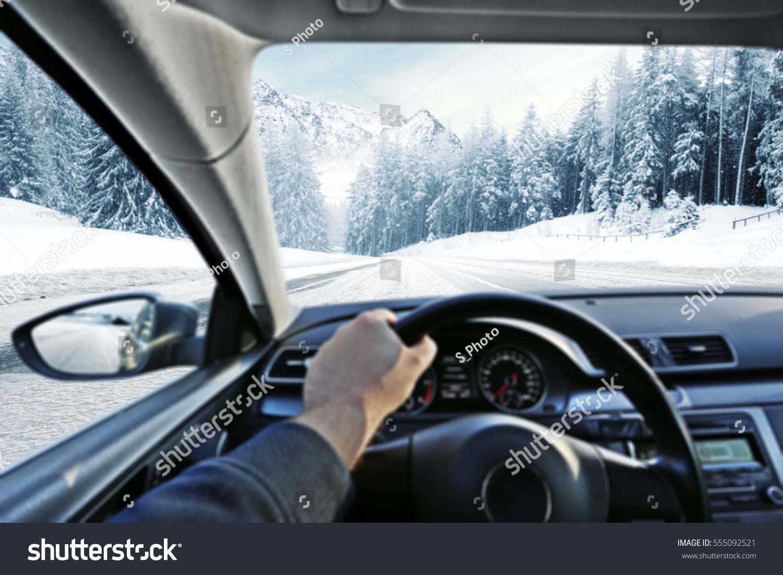car interior winter road stock photo 555092521 shutterstock. Black Bedroom Furniture Sets. Home Design Ideas