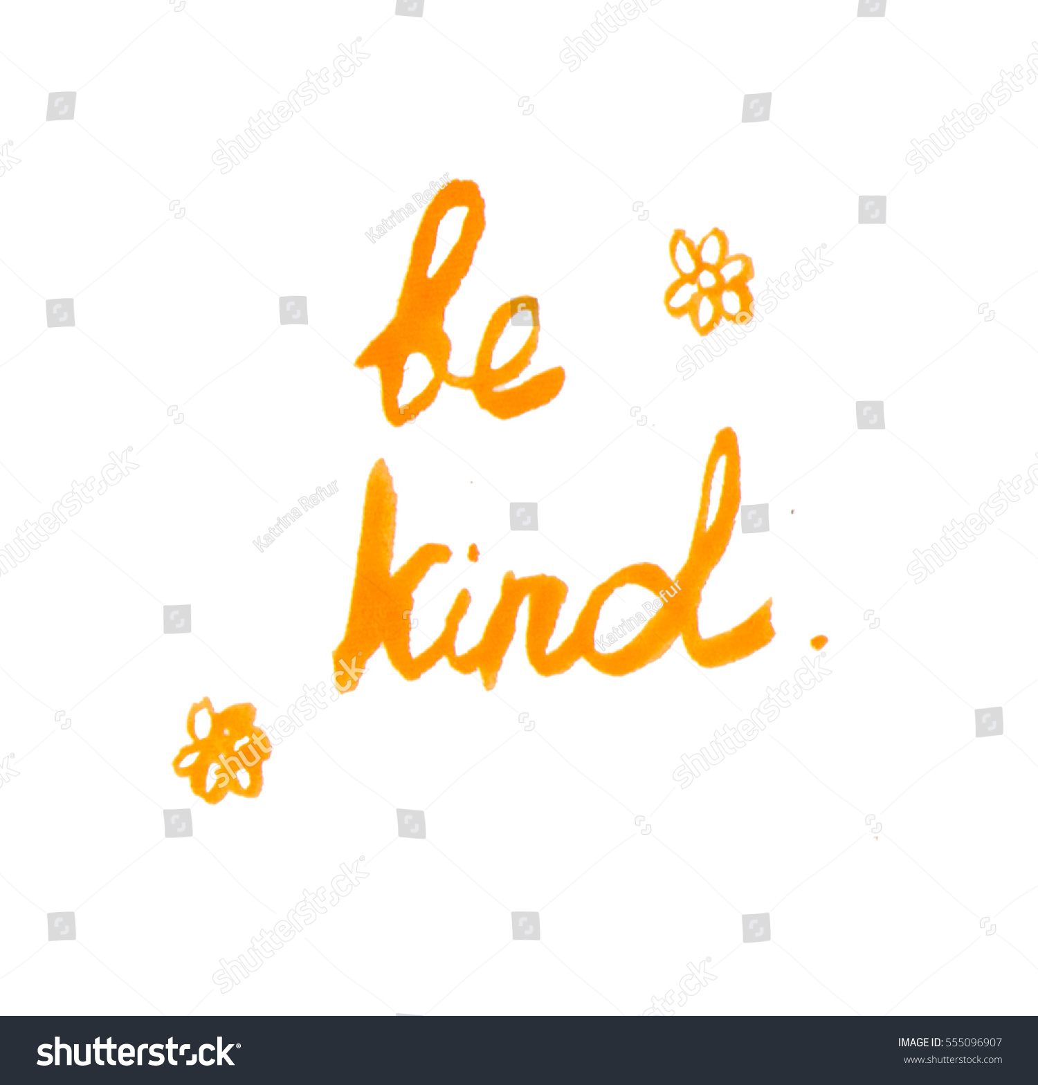 Handwritten Quote Be Kind Yellow Flowers Stock Illustration