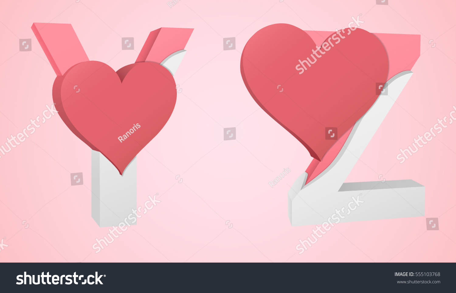 Letters Y Z Color Pink Inside Stock Vector (Royalty Free) 555103768 ...