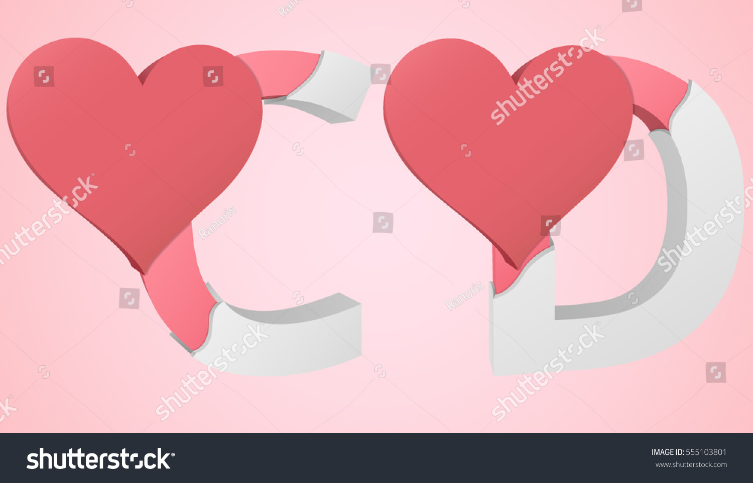 Letters C D Color Pink Inside Stock Vector (Royalty Free) 555103801 ...
