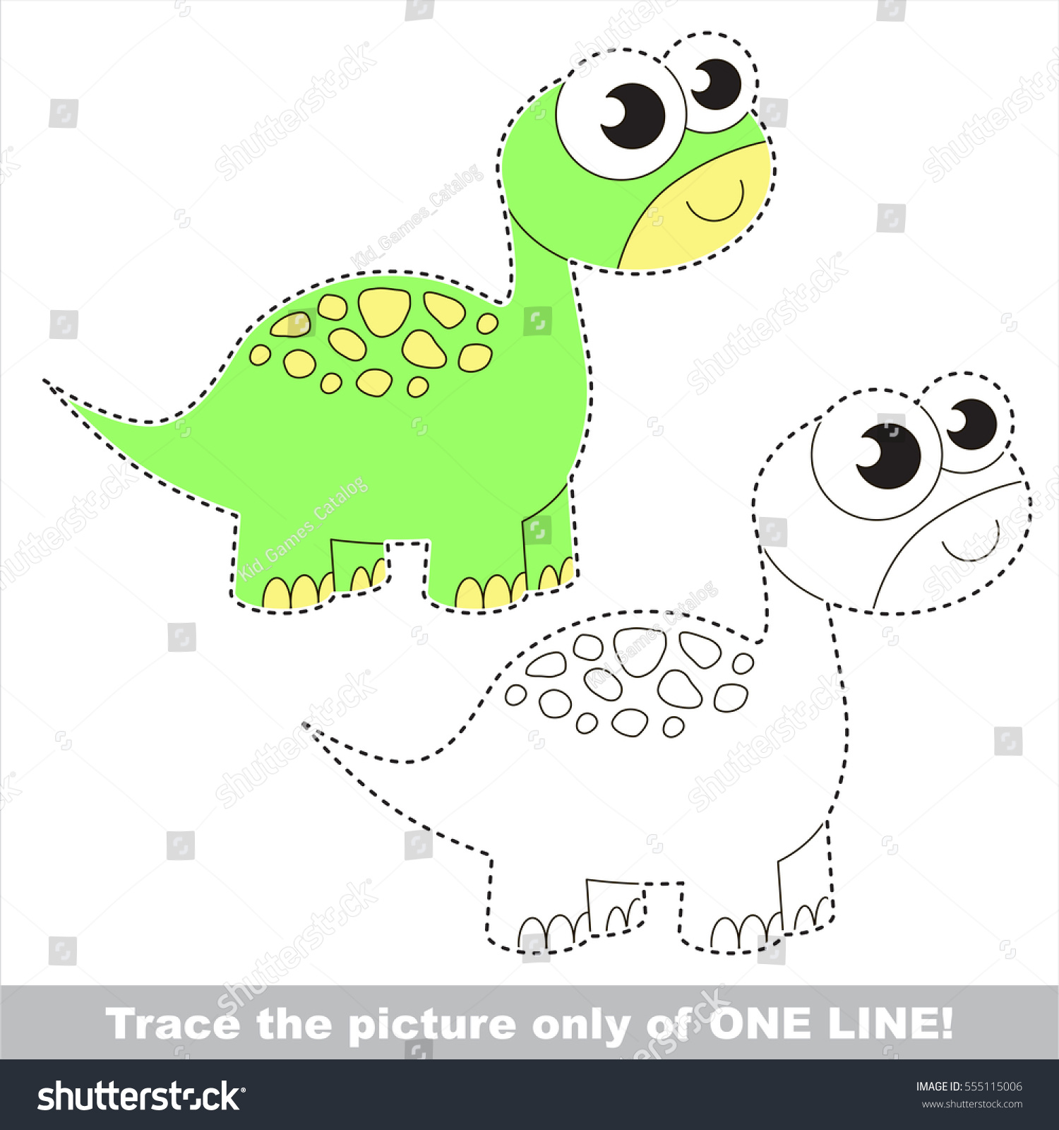 Brontosaurus Be Traced Only One Line Stock Vector (2018) 555115006 ...