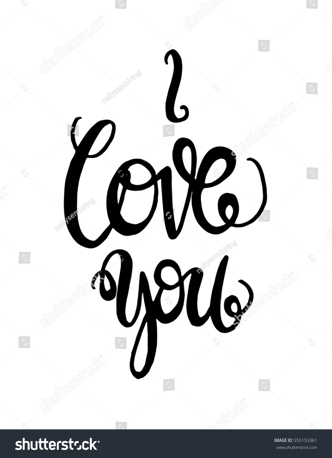 Love you hand lettered quote modern stock vector 555153361 I love you calligraphy