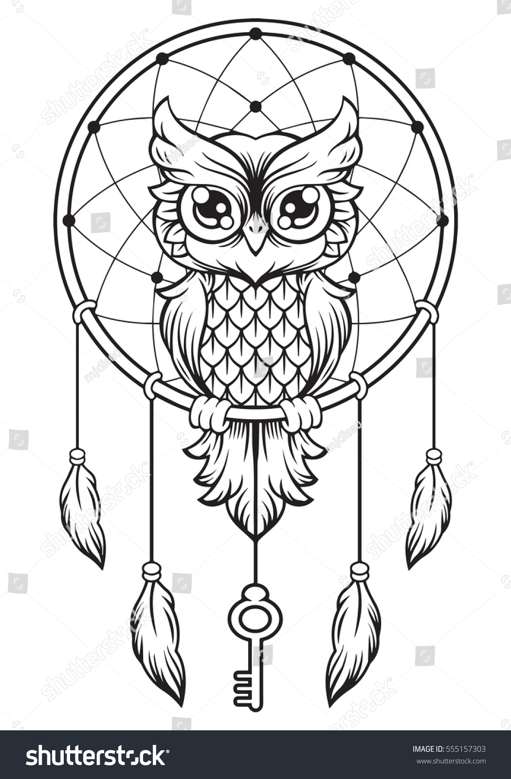 dreamcatcher owl mandala draw stock vector 555157303 shutterstock