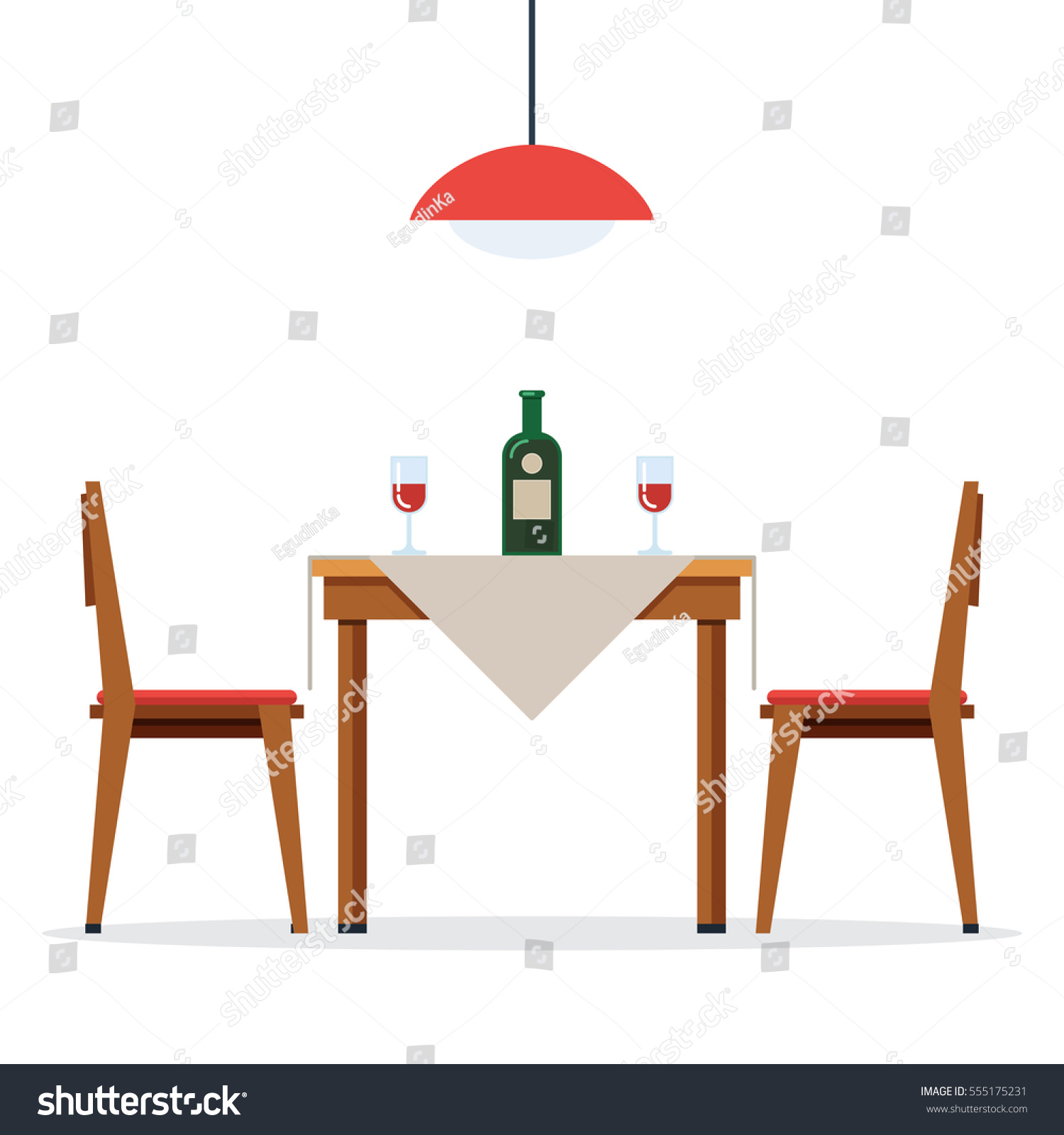 Dining Table Chairs Two People Bottle Stock Vector