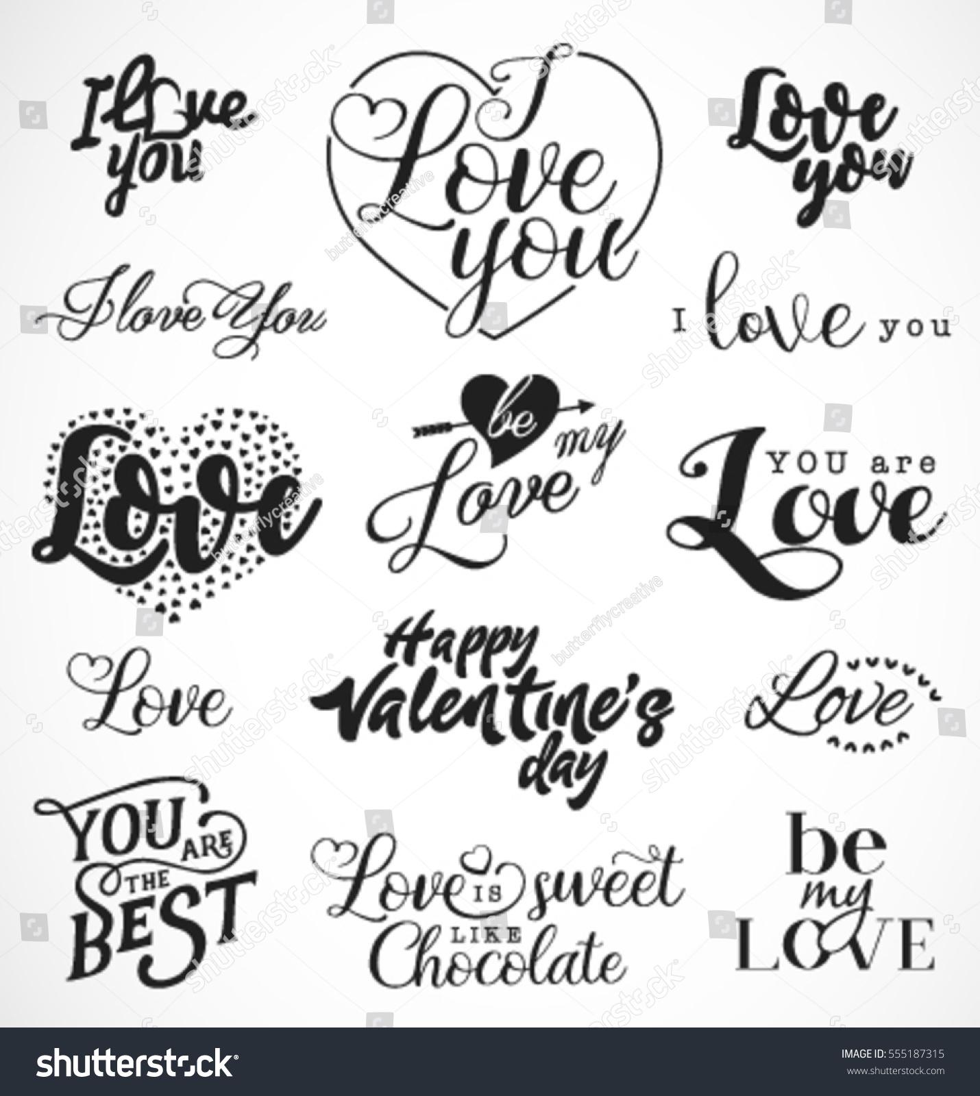 Valentines Day Black White Typography Design Stock Vector Royalty