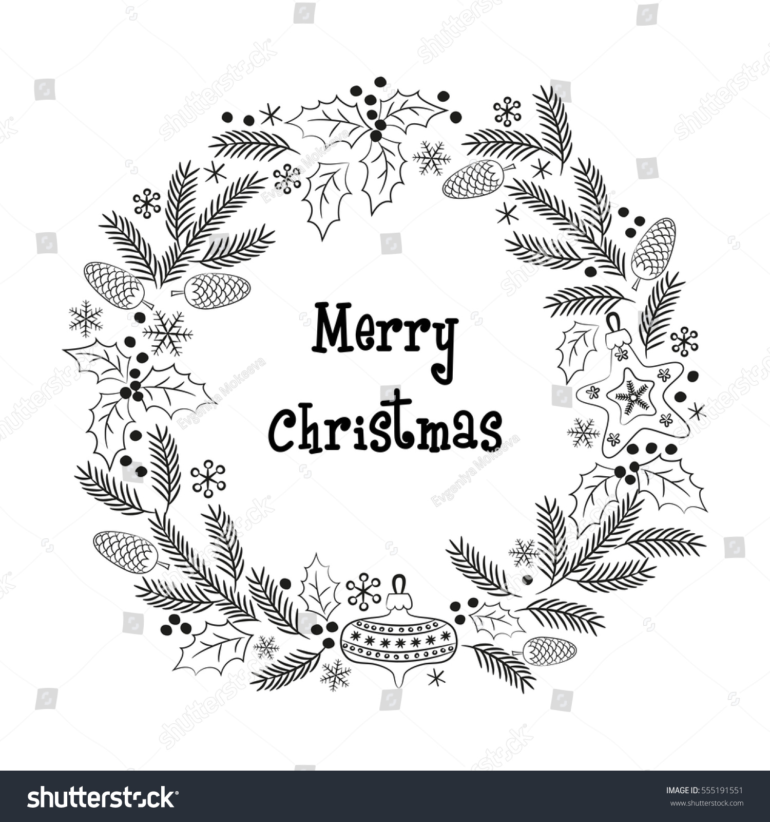 Christmas greeting wreath. Design for poster, card, invitation ...
