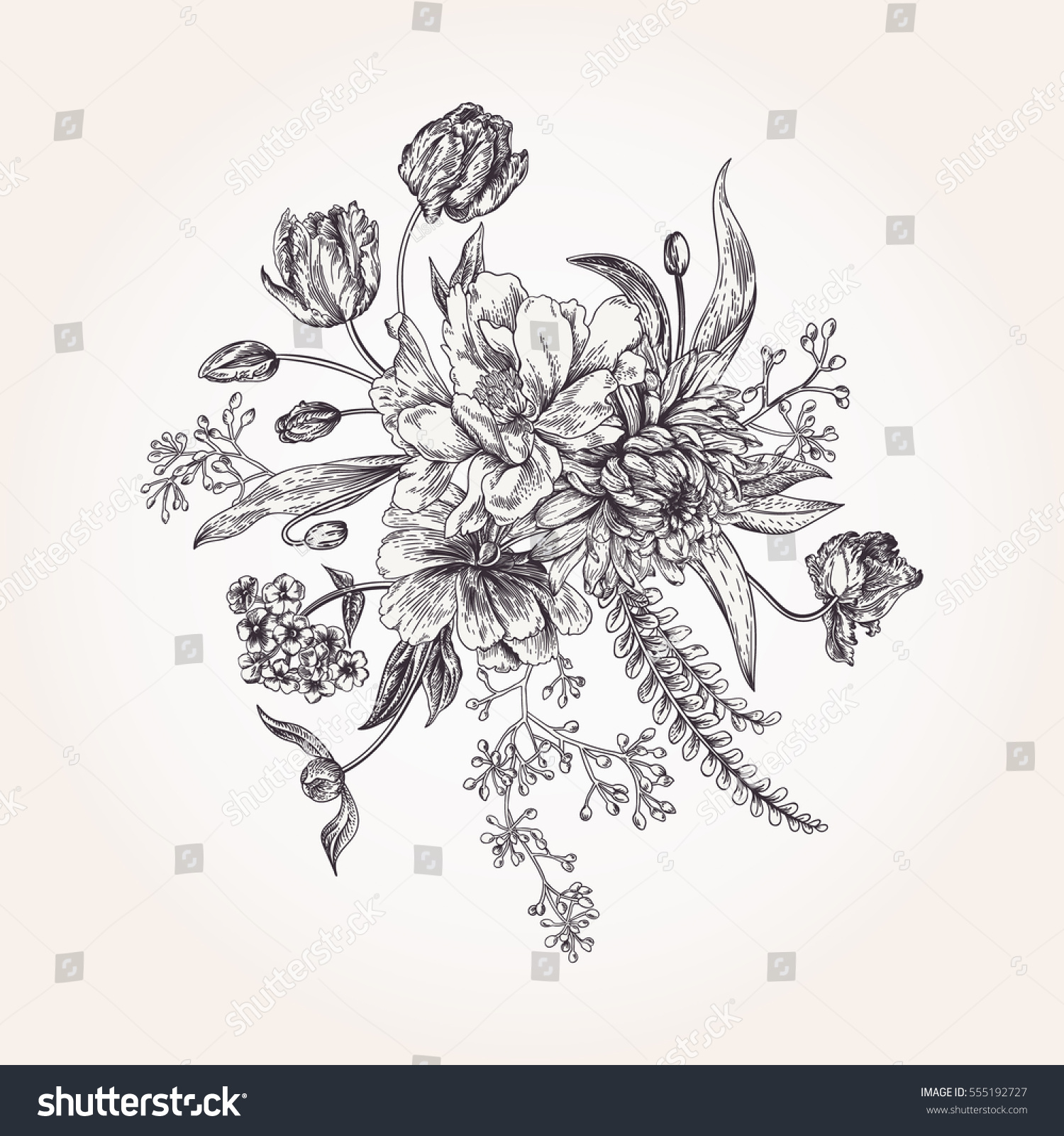 bouquet spring flowers vintage style black stock vector 555192727