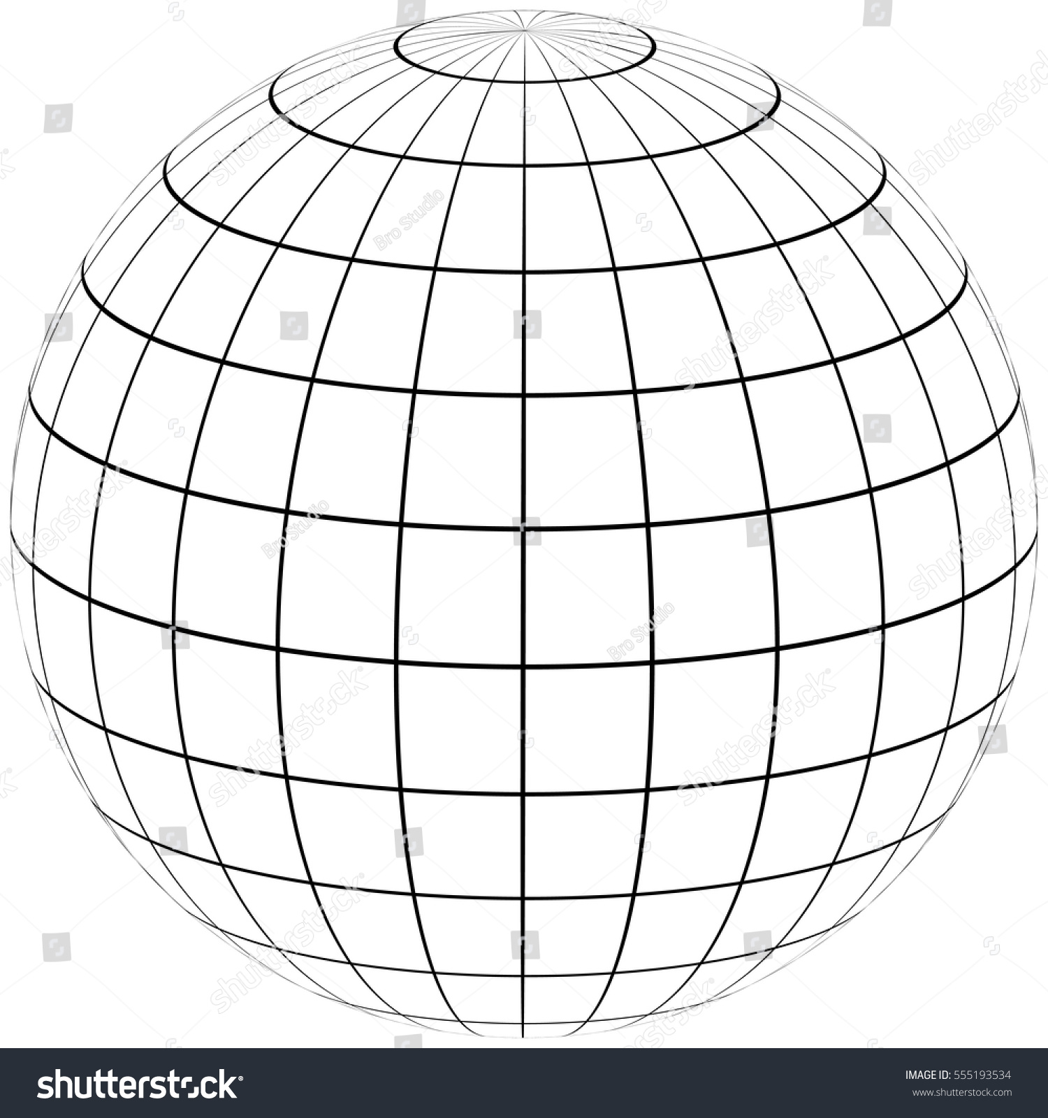 Graticule Globe Meridian Parallel Field Lines Stock-Vektorgrafik ...