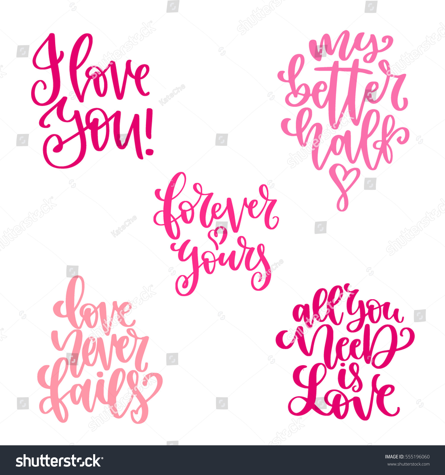 Valentines Day Wedding Calligraphic Quotes Messages Stock Vector