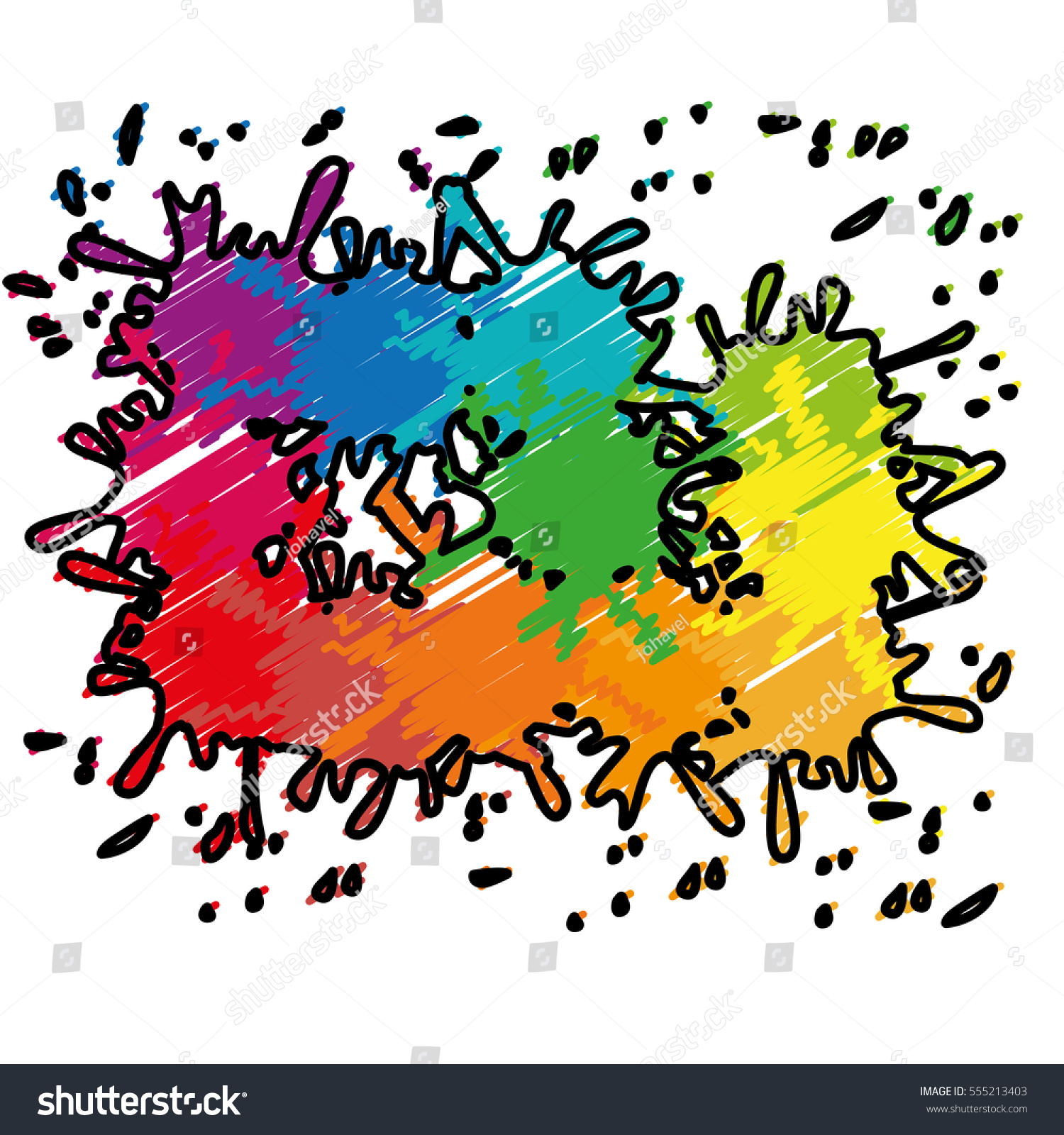 Colorful Paint Splash Over White Background Stock Vector 555213403