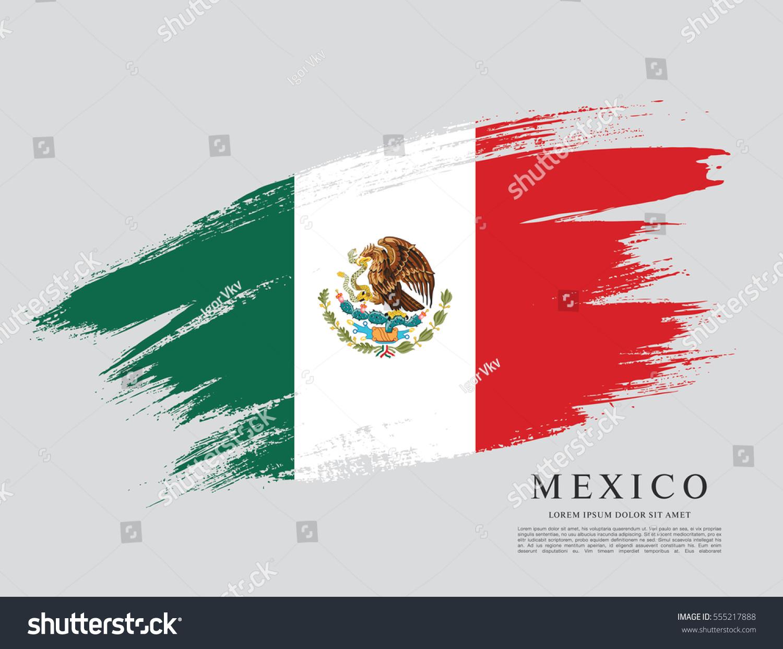 flag mexico brush stroke background stock vector 555217888