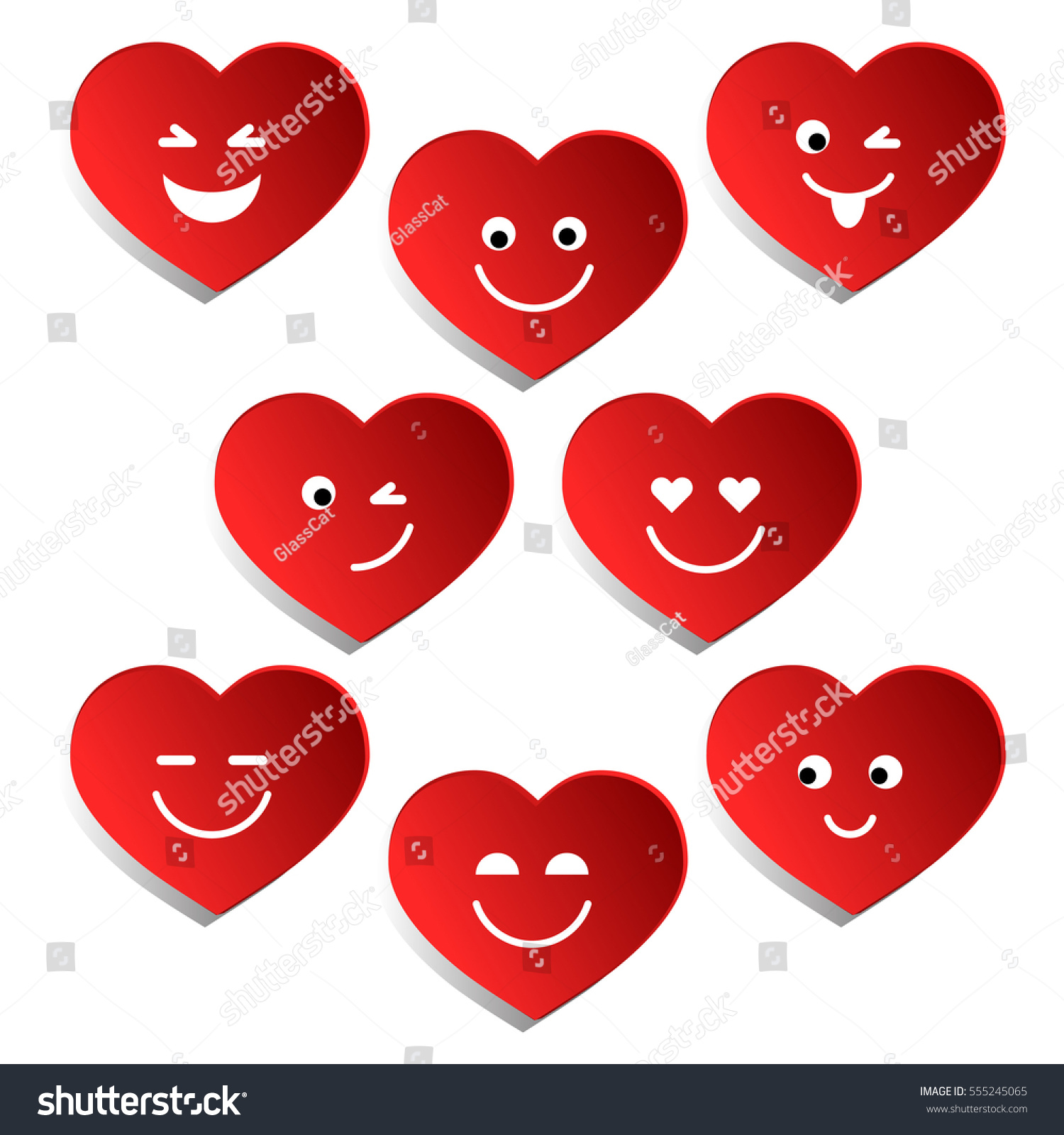 set hearts valentines day collection red stock vector 555245065