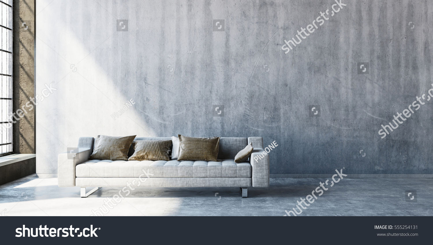 Empty living room with large windows can be as background stock - 3d Rendering Of Large Sofa On Concrete Floor With Wide Blank Wall Beside Tall Window