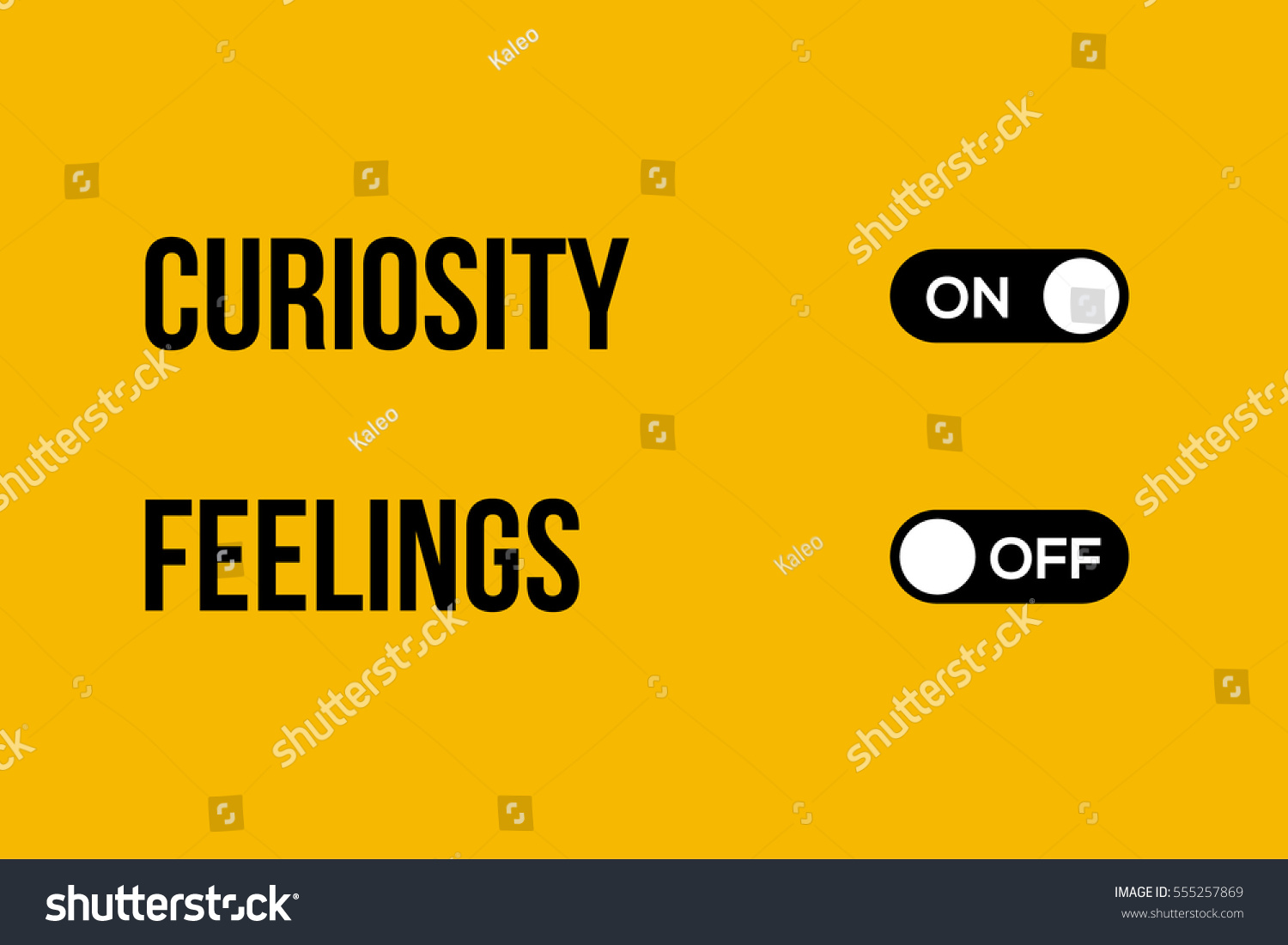 Curiosity Feelings Vector Typography On Off Stock Royalty And Button Creative Design