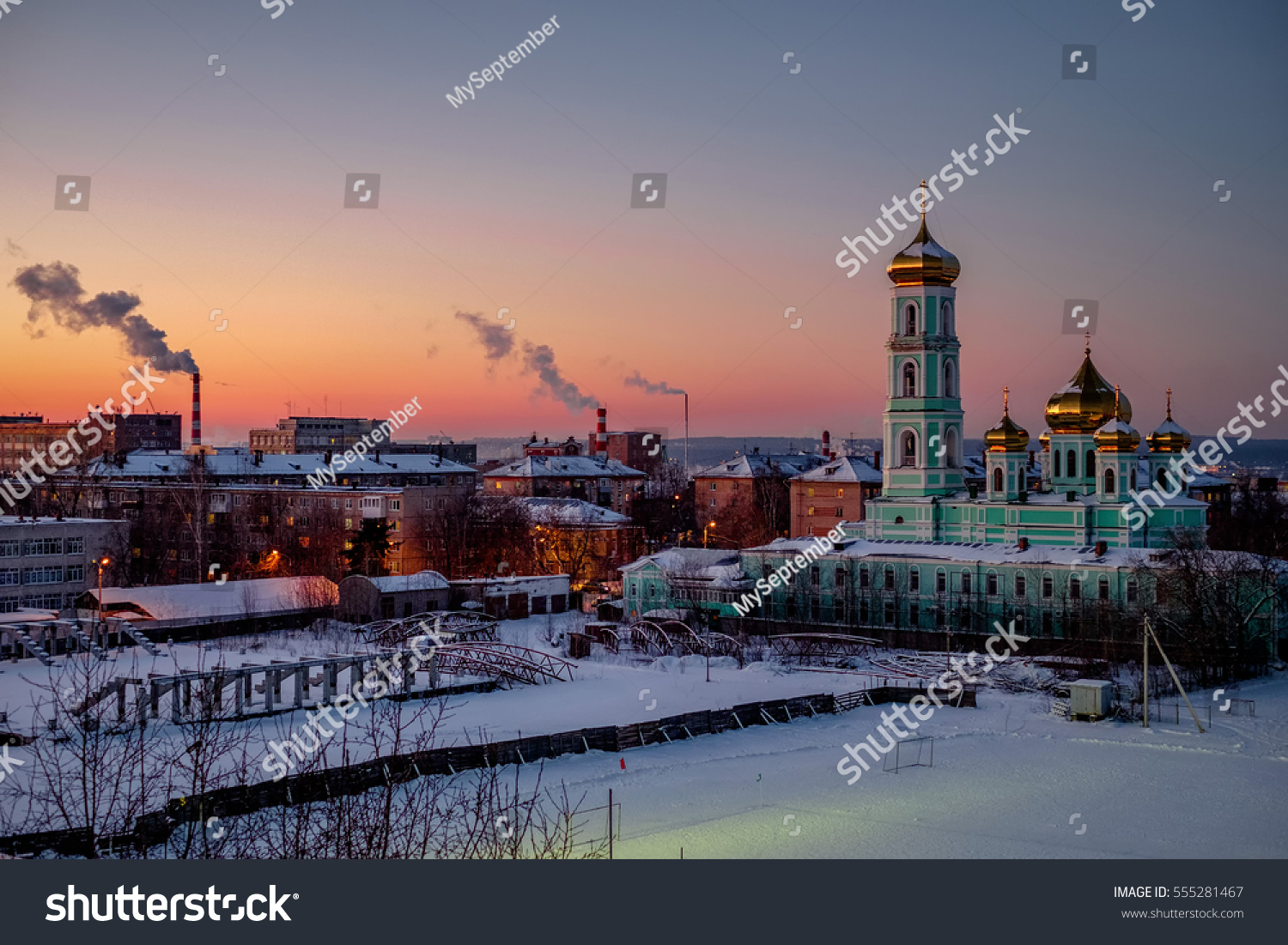 Church at sunset in winter. Perm, Russia. #555281467