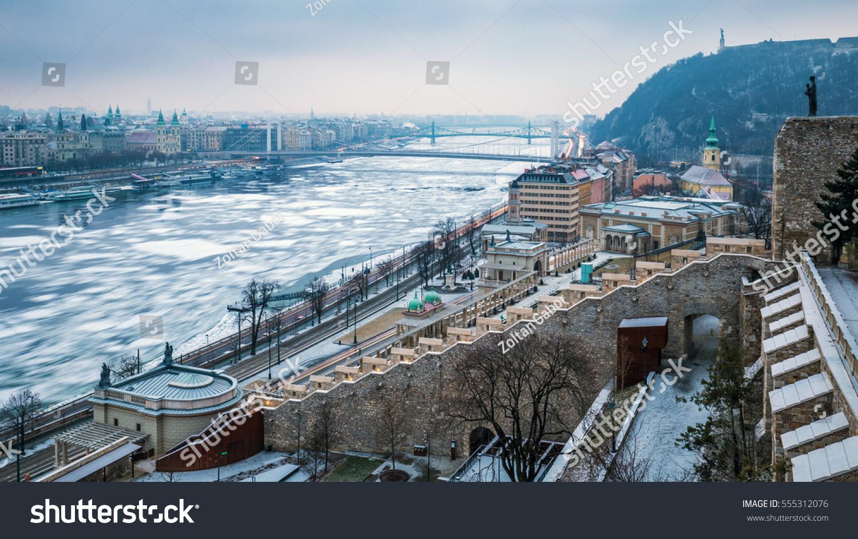 Budapest Hungary Panoramic Skyline View Varkert Stock