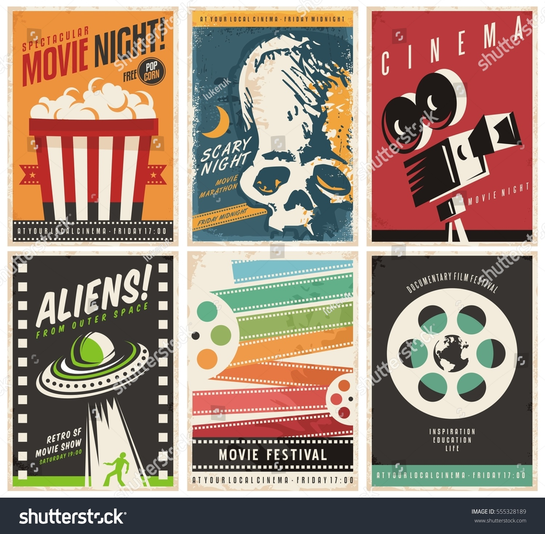 cinema posters collection different movie film vectores en