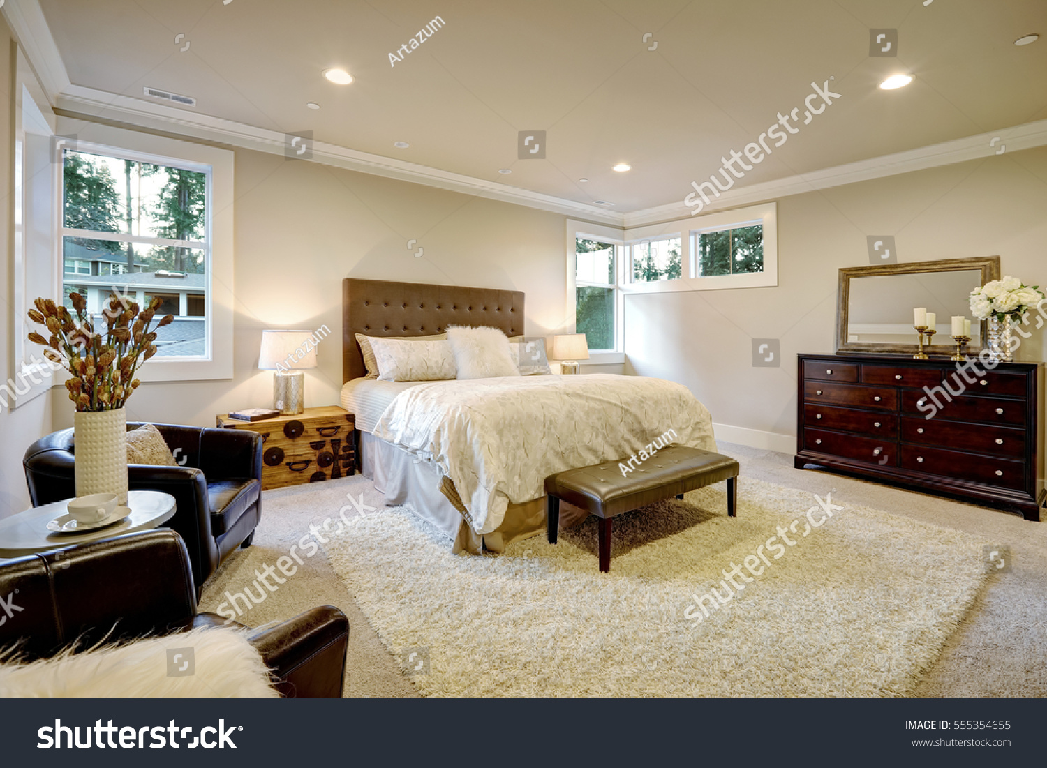 Beige Brown Master Bedroom Boasts Queen Stock Photo Edit Now 555354655