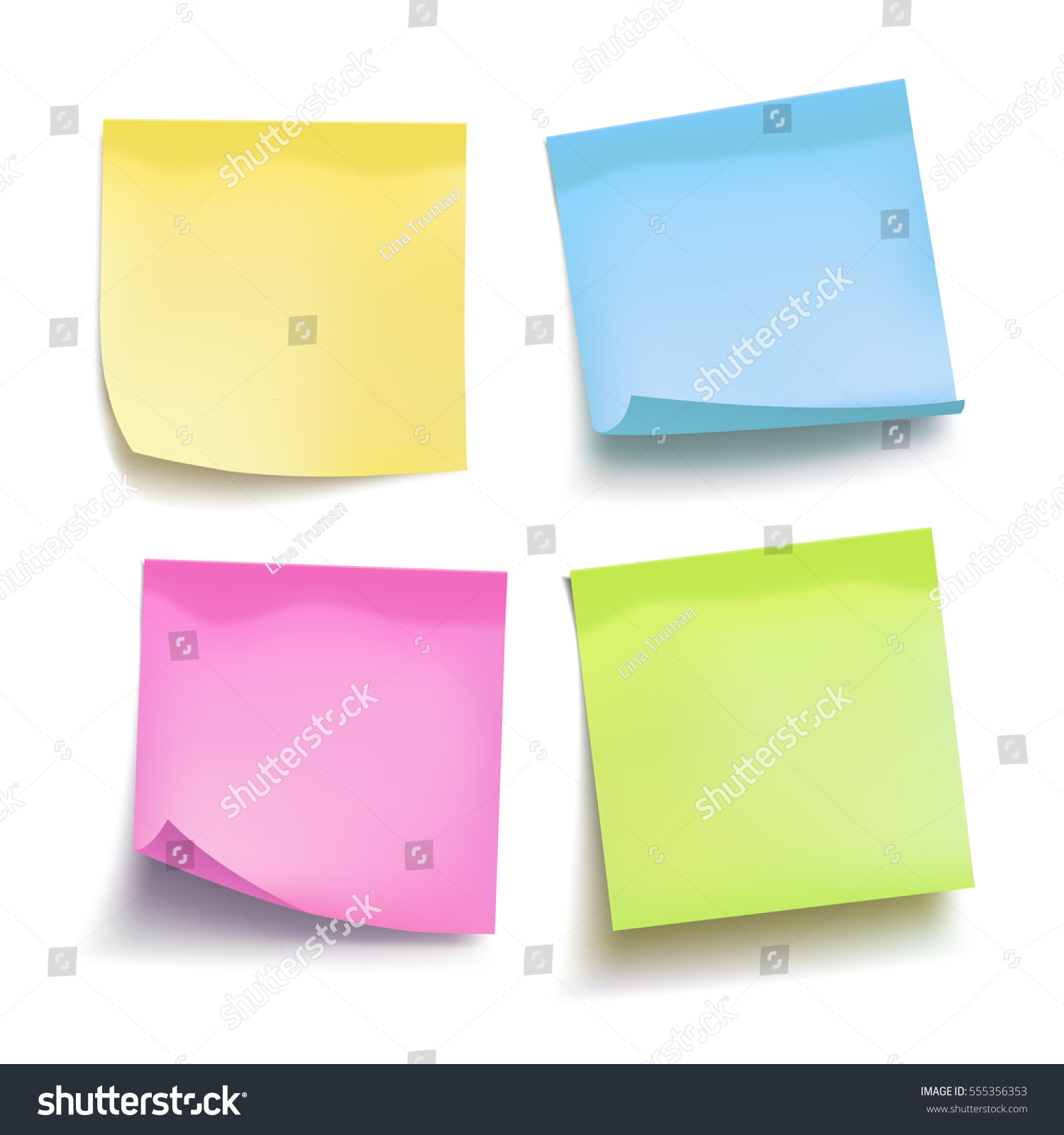 set of color sheets of note papers four sticky notes