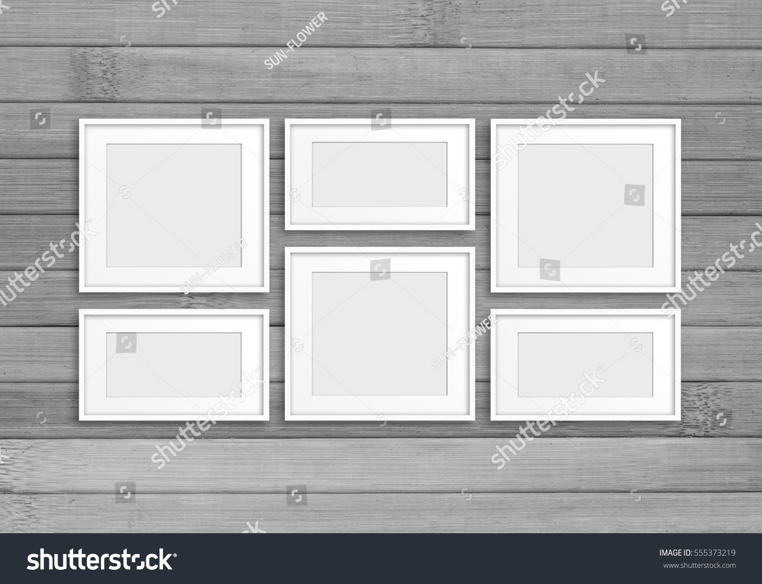 Collage Six White Frames On Grey Stock Photo (Edit Now) 555373219 ...