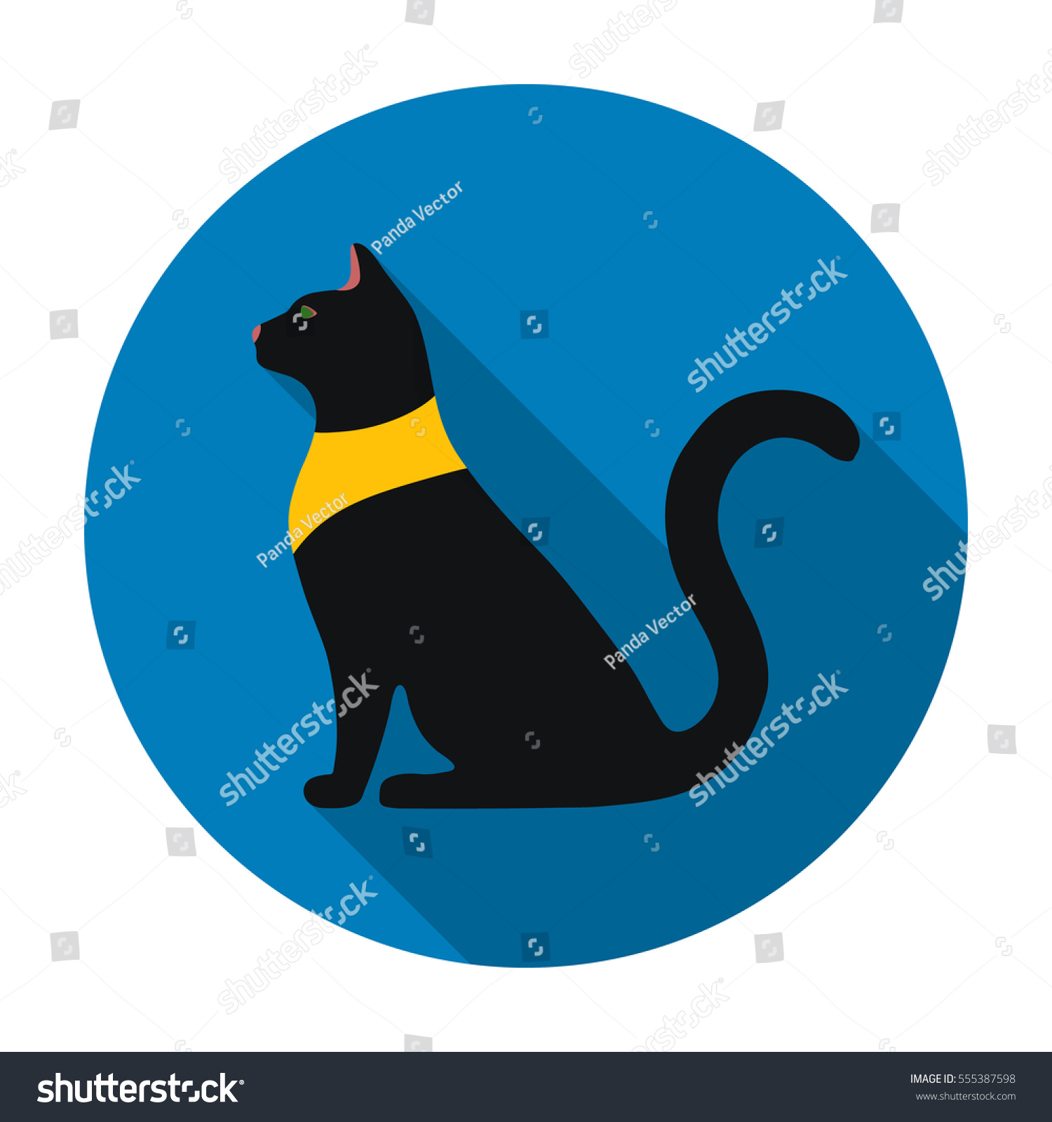 Cat Goddess Bastet Icon Flat Style Stock Illustration Royalty Free