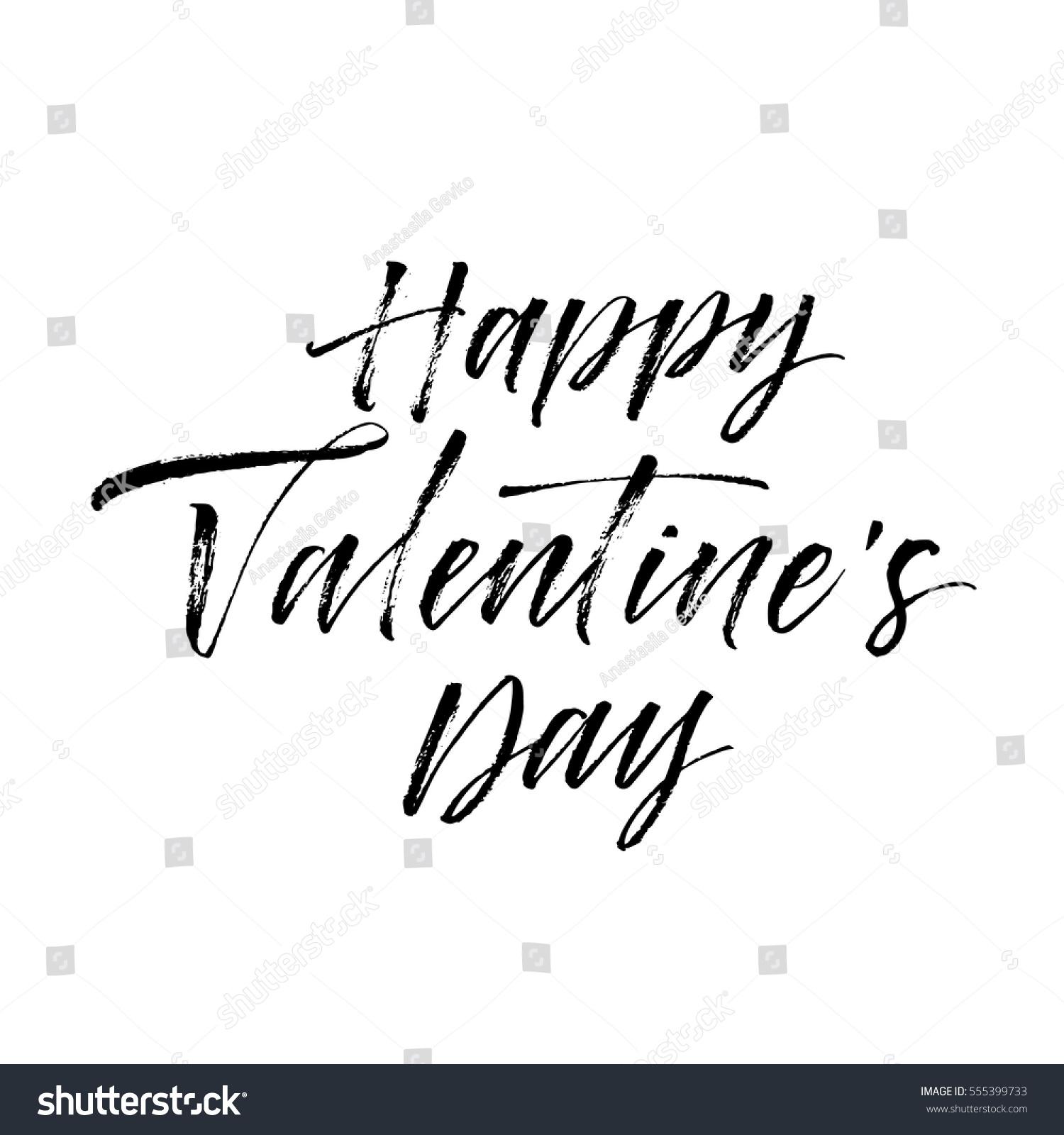 Happy Valentines Day Postcard Phrase Valentines Stock Vector