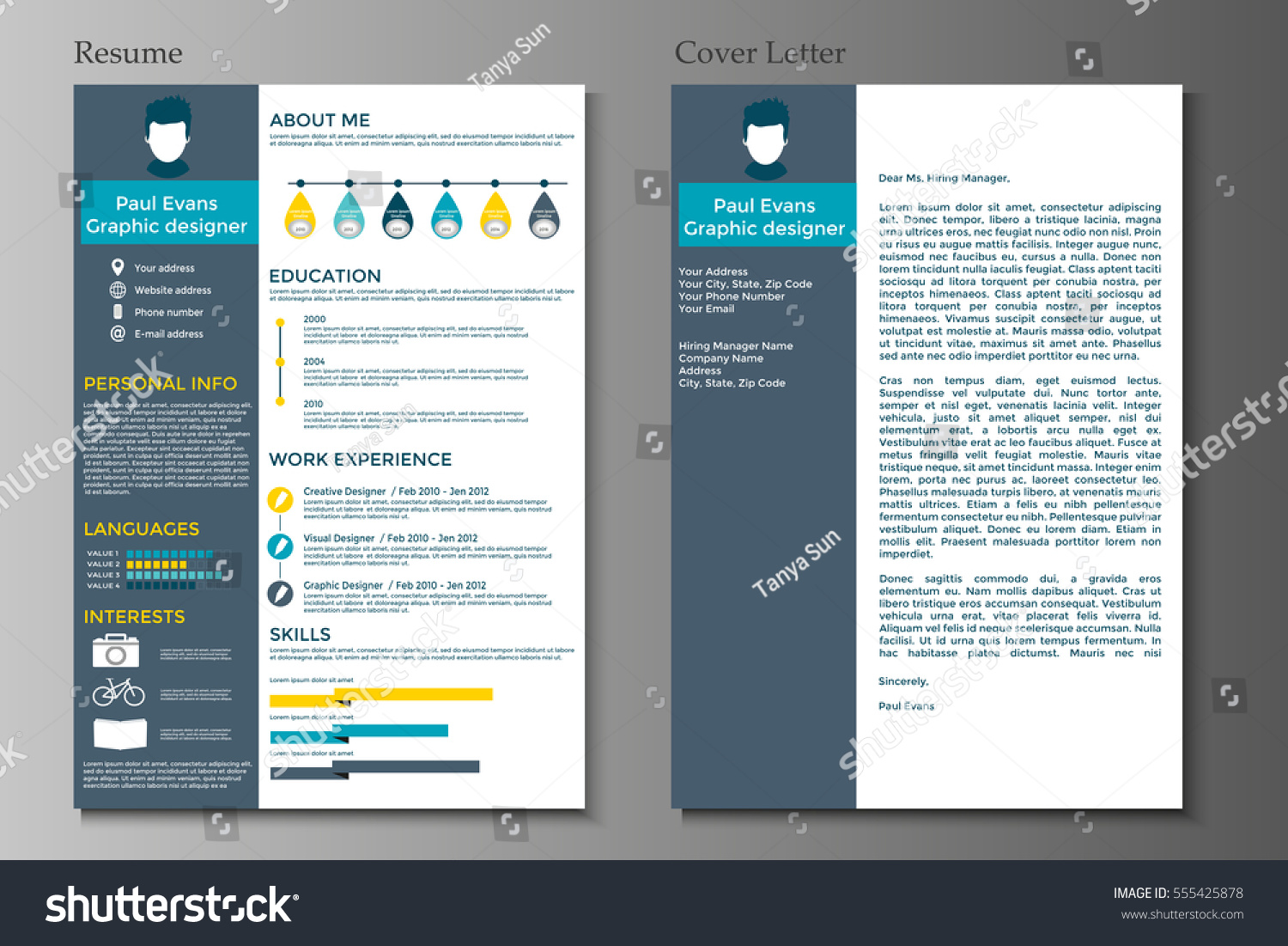resume cover letter flat style design stock vector