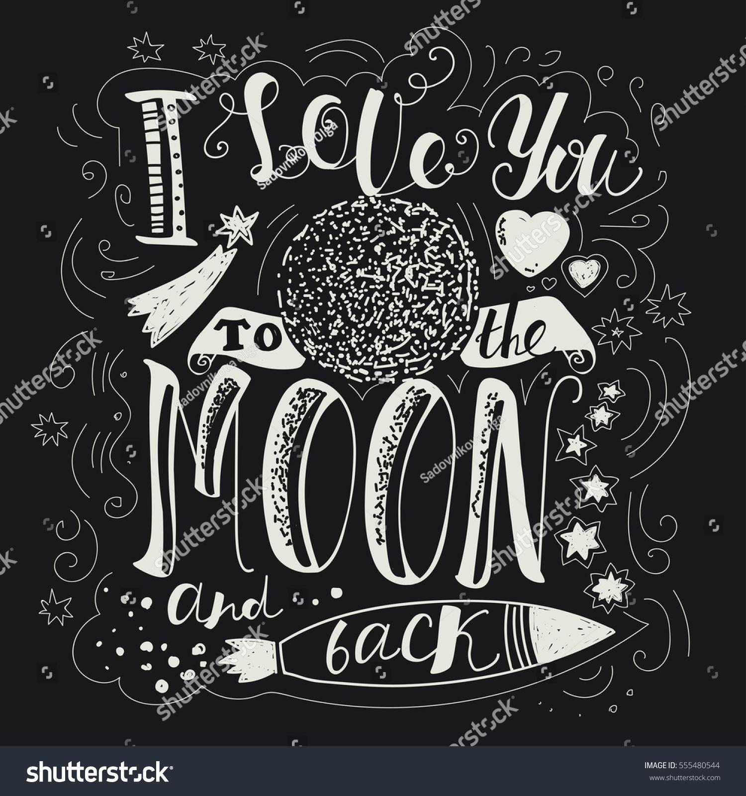 Lettering I Love You Moon Back Stock Vector Shutterstock