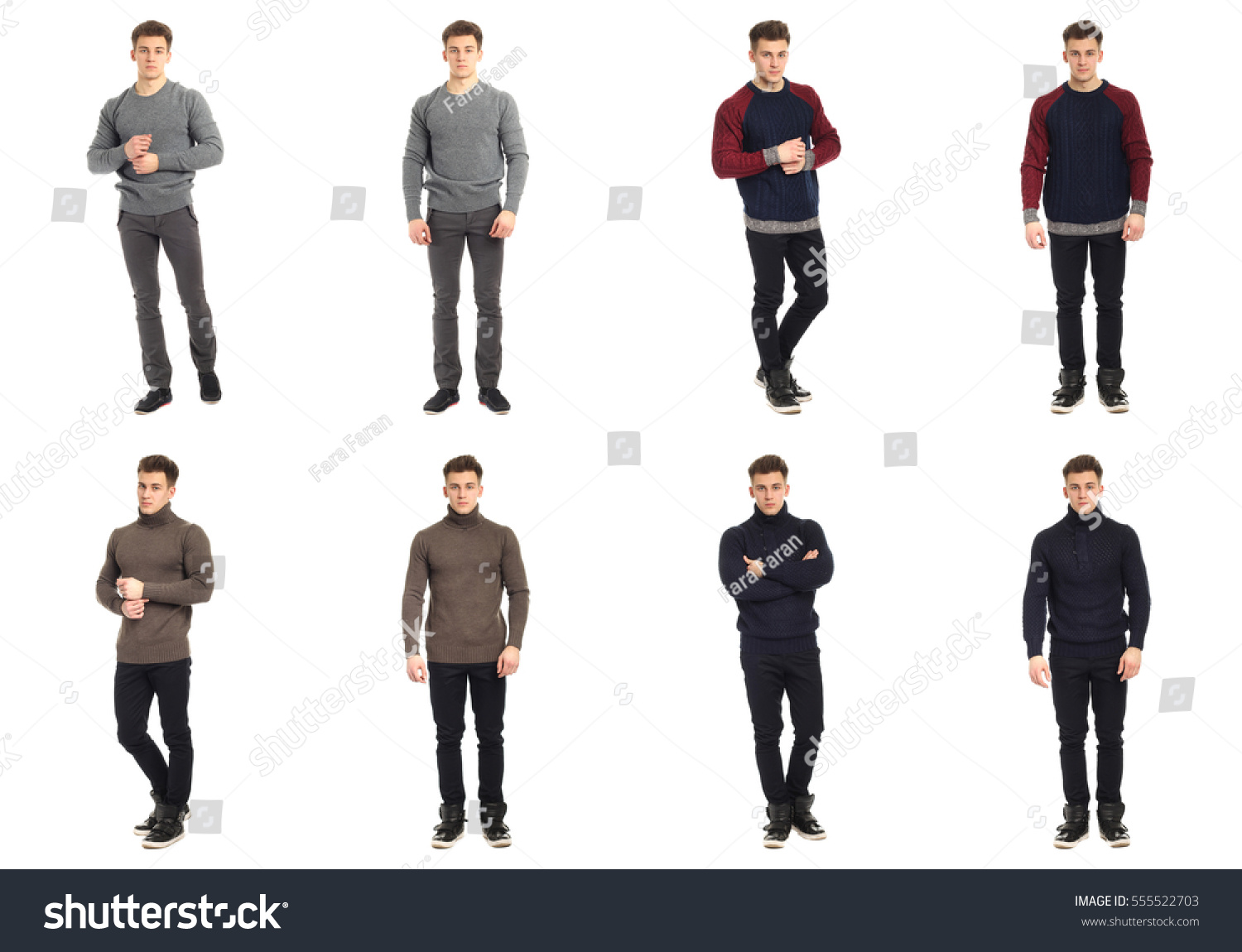 Casual Clothing Concept Same Man Different Stock Photo