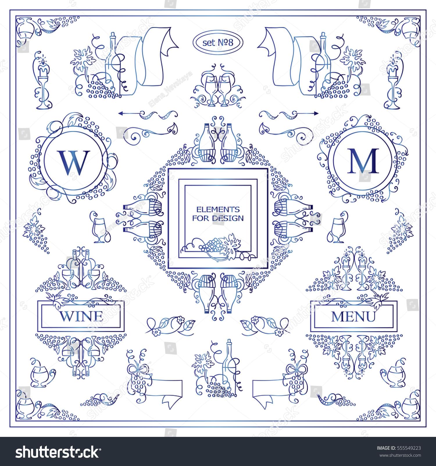 Ornamental bottles - Vector Set Of Vintage Elements For Design Ornamental Frames Borders Banners Monogram