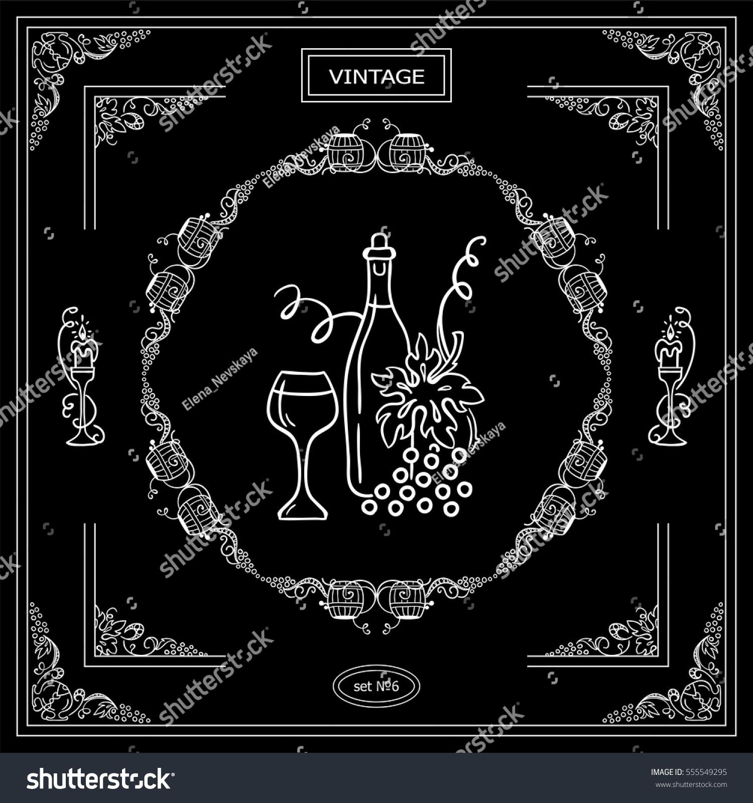 Ornamental bottles - Vector Set Of Vintage Corners And Frame Ornamental Vignette Arrows Label Square